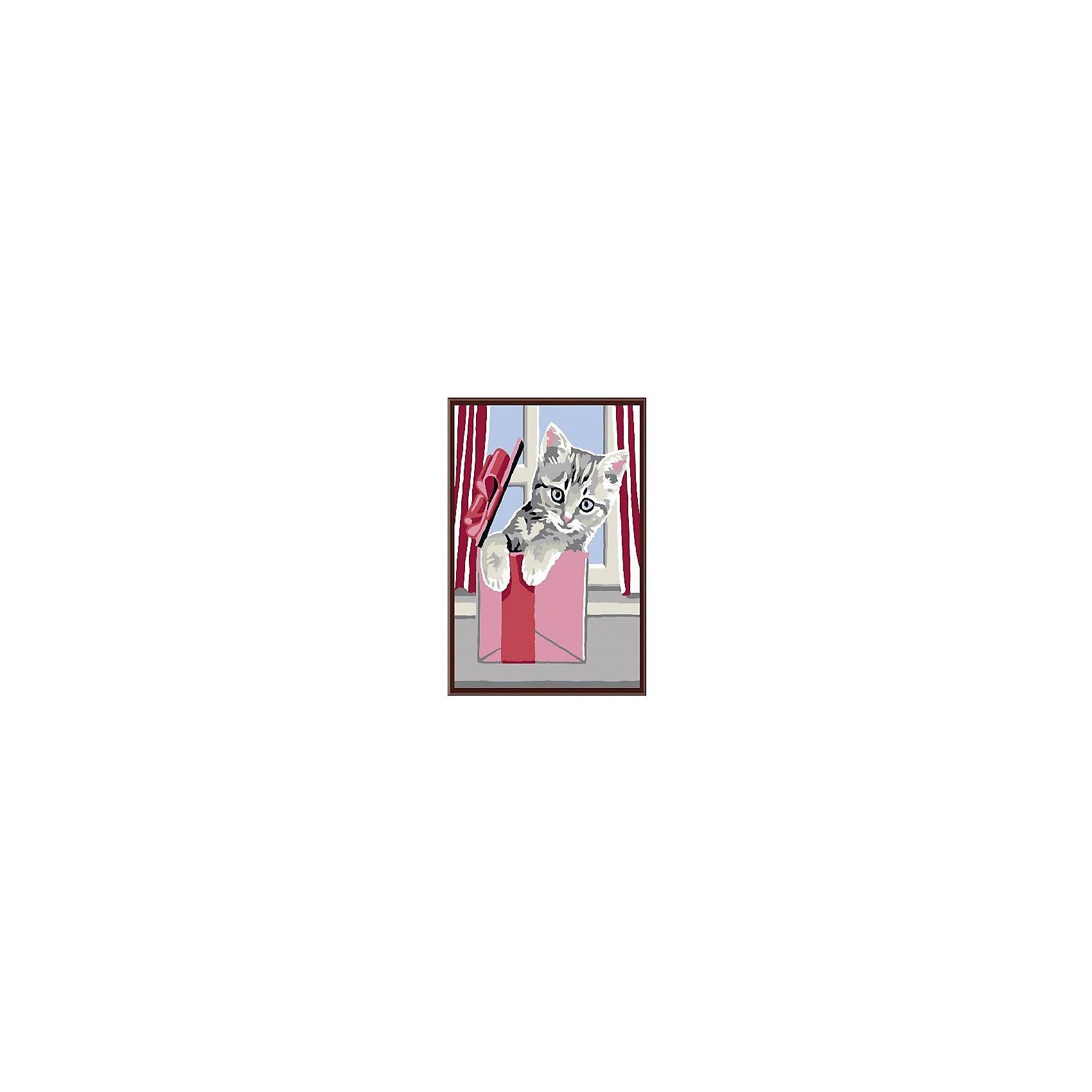 Набор юного художника Котенок, 20*30 смДетские картины с раскраской по номерам размером 20*30. На деревянном подрамнике, с прогрунтованным холстом и  нанесенными контурами картины, с указанием цвета закраски, акриловыми красками, 3 кисточками и креплением на стену. Уровень сложности, количество красок указаны на коробке.<br><br>Ширина мм: 300<br>Глубина мм: 200<br>Высота мм: 30<br>Вес г: 330<br>Возраст от месяцев: 60<br>Возраст до месяцев: 108<br>Пол: Унисекс<br>Возраст: Детский<br>SKU: 5417636