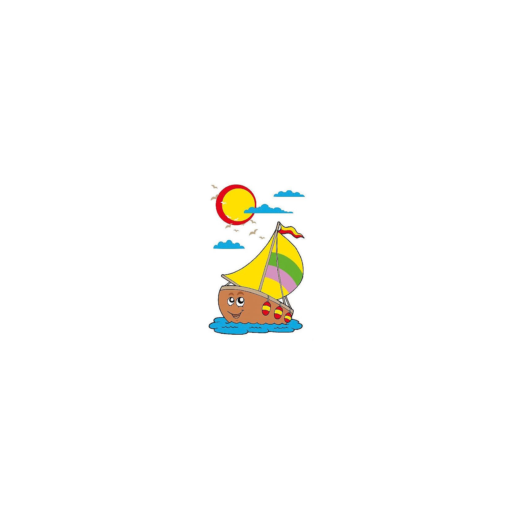 Набор юного художника Веселый парусник, 20*30 смДетские картины с раскраской по номерам размером 20*30. На деревянном подрамнике, с прогрунтованным холстом и  нанесенными контурами картины, с указанием цвета закраски, акриловыми красками, 3 кисточками и креплением на стену. Уровень сложности, количество красок указаны на коробке.<br><br>Ширина мм: 300<br>Глубина мм: 200<br>Высота мм: 30<br>Вес г: 330<br>Возраст от месяцев: 60<br>Возраст до месяцев: 108<br>Пол: Унисекс<br>Возраст: Детский<br>SKU: 5417659