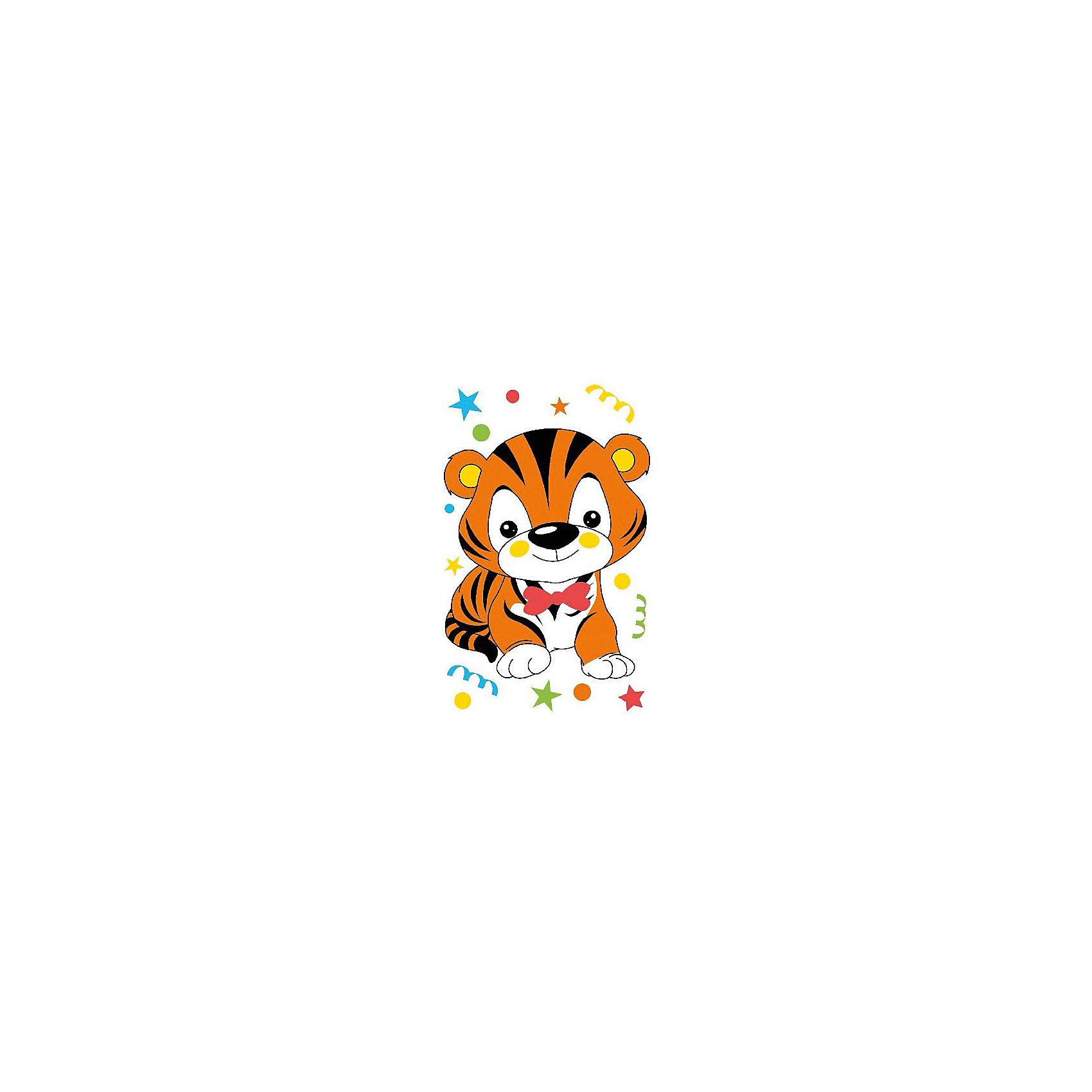 Набор юного художника Тигренок на празднике, 20*30 смДетские картины с раскраской по номерам размером 20*30. На деревянном подрамнике, с прогрунтованным холстом и  нанесенными контурами картины, с указанием цвета закраски, акриловыми красками, 3 кисточками и креплением на стену. Уровень сложности, количество красок указаны на коробке.<br><br>Ширина мм: 300<br>Глубина мм: 200<br>Высота мм: 30<br>Вес г: 330<br>Возраст от месяцев: 60<br>Возраст до месяцев: 108<br>Пол: Унисекс<br>Возраст: Детский<br>SKU: 5417660