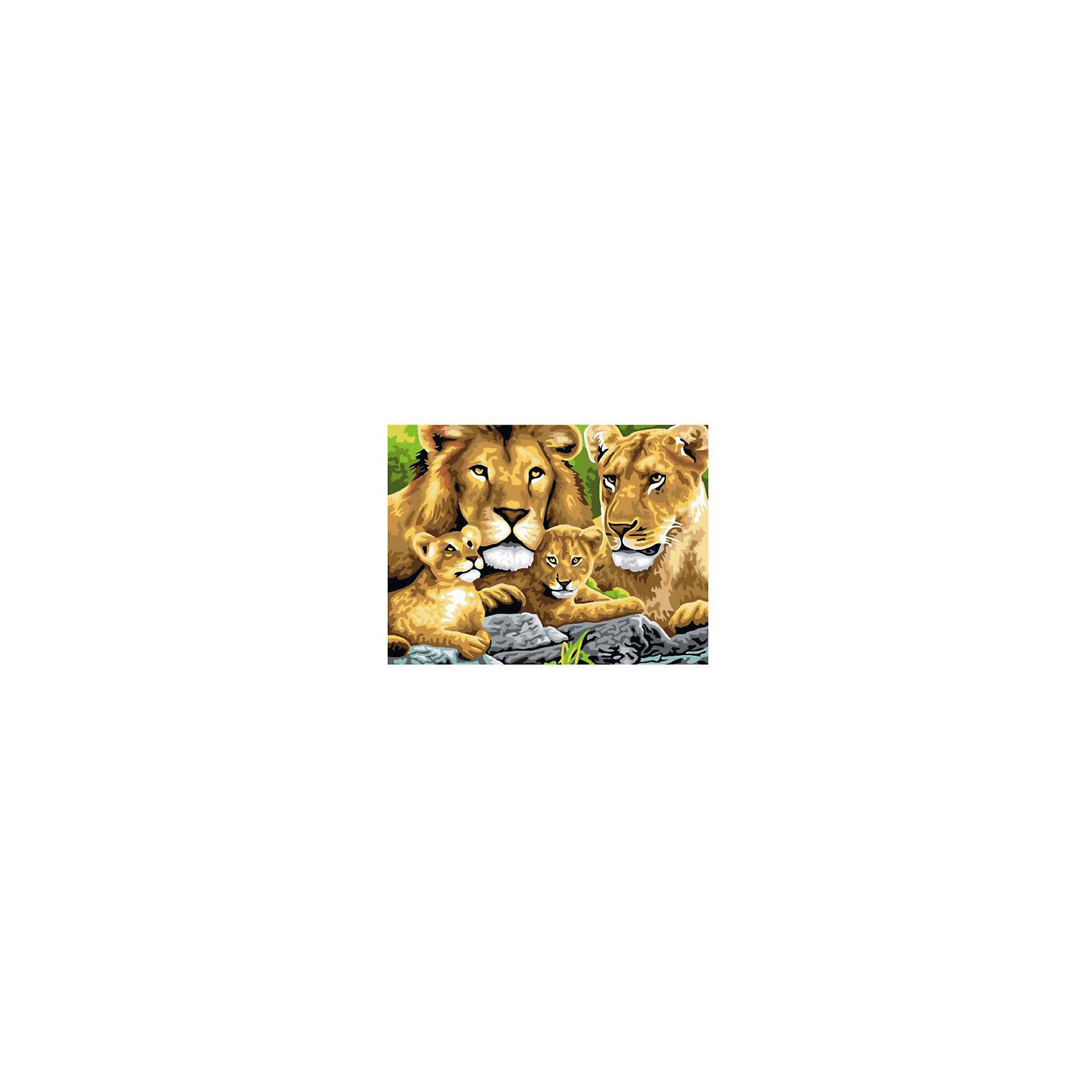 Картина по номерам Семейство львов, 40*50 смКартины с раскраской по номерам размером 40*50. На деревянном подрамнике, с прогрунтованным холстом и  нанесенными контурами картины, с указанием цвета закраски, акриловыми красками, 3 кисточками и креплением на стену. Уровень сложности, количество красок указаны на коробке.<br><br>Ширина мм: 500<br>Глубина мм: 400<br>Высота мм: 40<br>Вес г: 730<br>Возраст от месяцев: 108<br>Возраст до месяцев: 2147483647<br>Пол: Унисекс<br>Возраст: Детский<br>SKU: 5417672