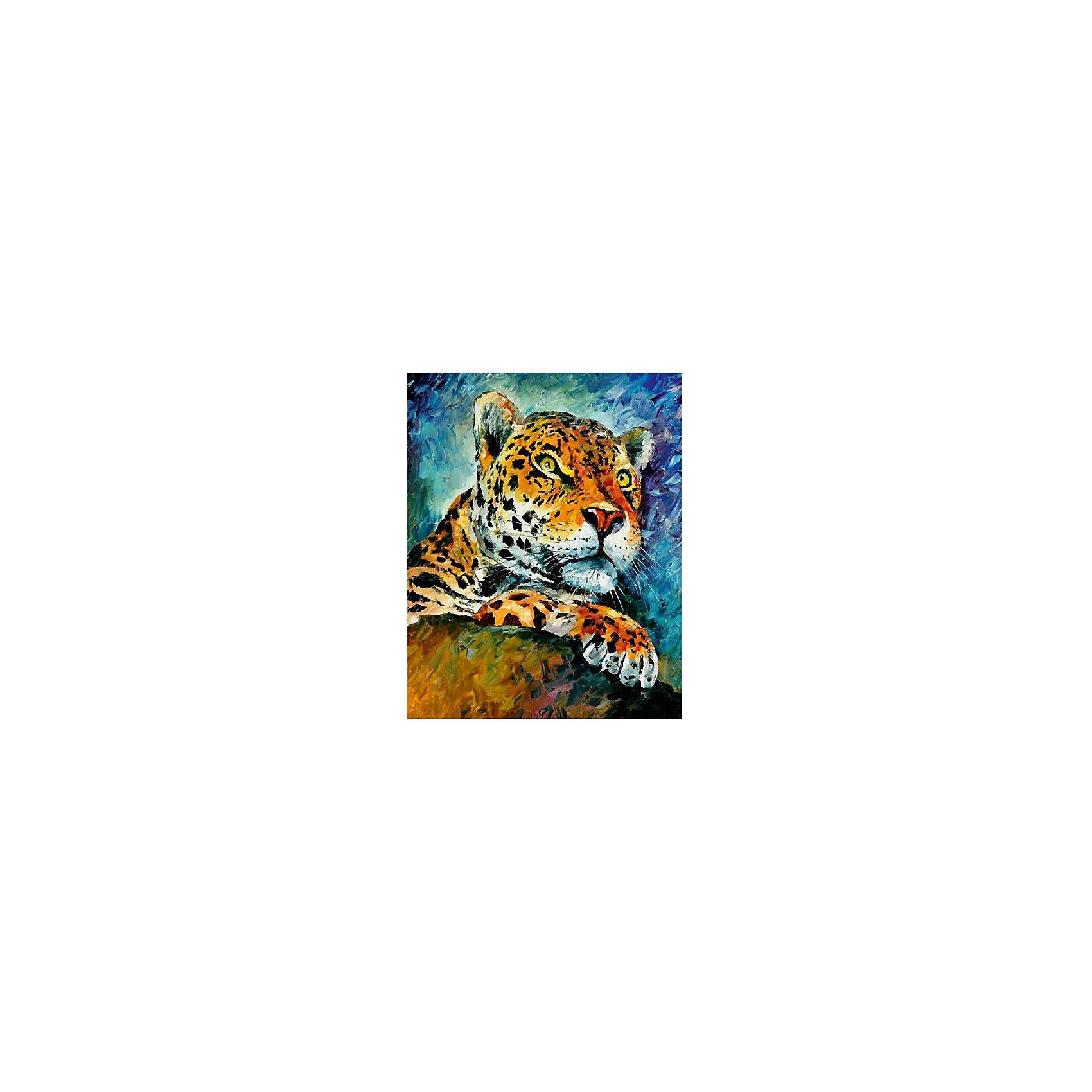Картина по номерам Афремов: Леопард, 40*50 смРисование<br>Картины с раскраской по номерам размером 40*50. На деревянном подрамнике, с прогрунтованным холстом и  нанесенными контурами картины, с указанием цвета закраски, акриловыми красками, 3 кисточками и креплением на стену. Уровень сложности, количество красок указаны на коробке.<br><br>Ширина мм: 500<br>Глубина мм: 400<br>Высота мм: 40<br>Вес г: 730<br>Возраст от месяцев: 108<br>Возраст до месяцев: 2147483647<br>Пол: Унисекс<br>Возраст: Детский<br>SKU: 5417681