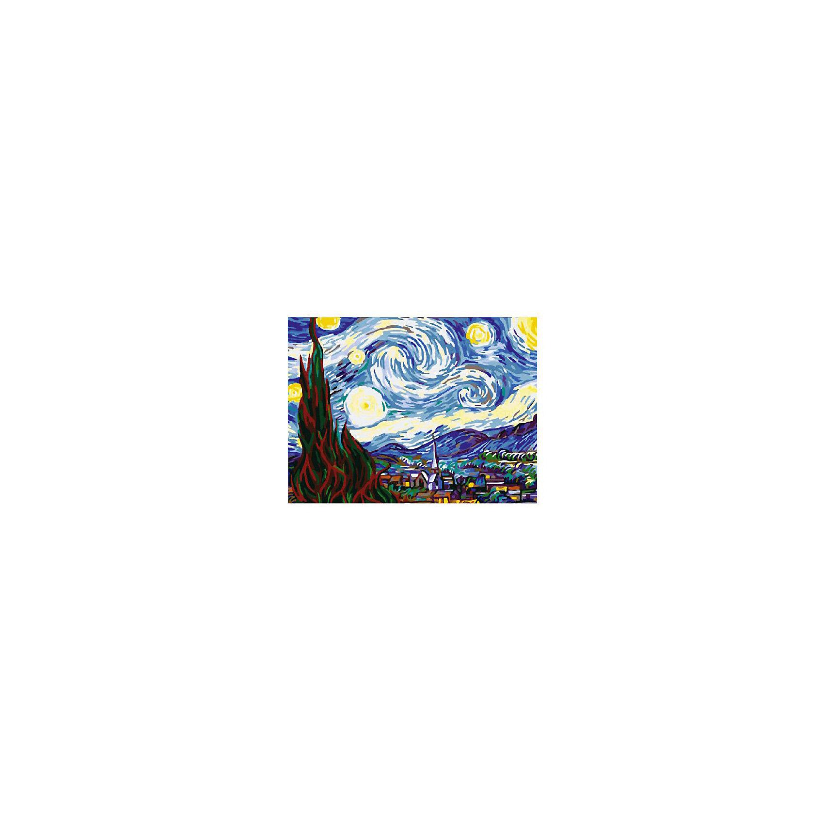 Картина по номерам Ван Гог: Звездная ночь, 40*50 смРисование<br>Картины с раскраской по номерам размером 40*50. На деревянном подрамнике, с прогрунтованным холстом и  нанесенными контурами картины, с указанием цвета закраски, акриловыми красками, 3 кисточками и креплением на стену. Уровень сложности, количество красок указаны на коробке.<br><br>Ширина мм: 500<br>Глубина мм: 400<br>Высота мм: 40<br>Вес г: 730<br>Возраст от месяцев: 108<br>Возраст до месяцев: 2147483647<br>Пол: Унисекс<br>Возраст: Детский<br>SKU: 5417698