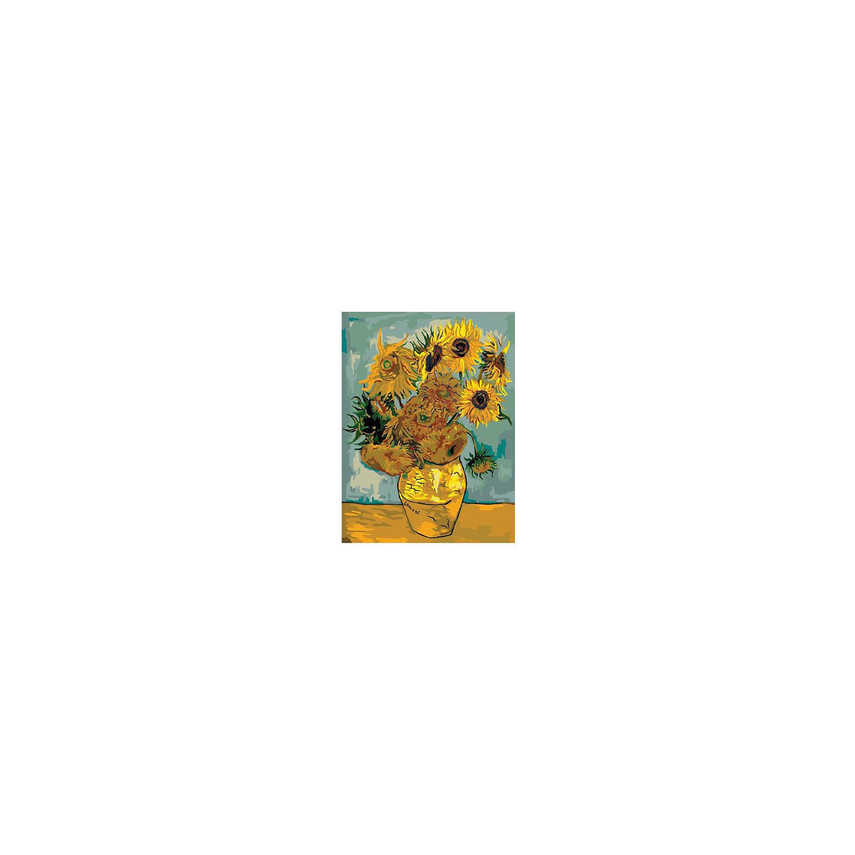 Картина по номерам Ван Гог: Подсолнухи, 40*50 смКартины с раскраской по номерам размером 40*50. На деревянном подрамнике, с прогрунтованным холстом и  нанесенными контурами картины, с указанием цвета закраски, акриловыми красками, 3 кисточками и креплением на стену. Уровень сложности, количество красок указаны на коробке.<br><br>Ширина мм: 500<br>Глубина мм: 400<br>Высота мм: 40<br>Вес г: 730<br>Возраст от месяцев: 108<br>Возраст до месяцев: 2147483647<br>Пол: Унисекс<br>Возраст: Детский<br>SKU: 5417699