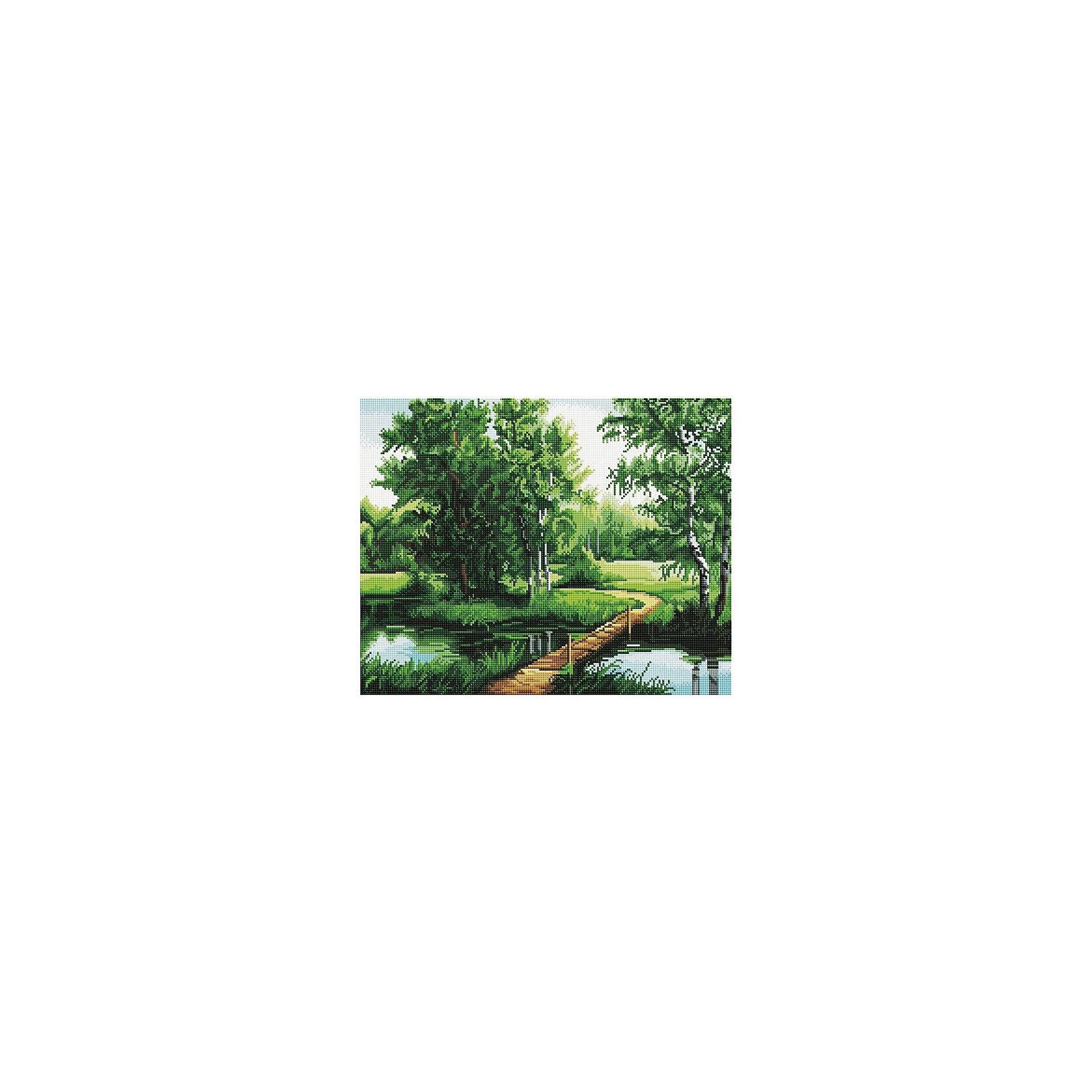 Картина мозаикой Мостик в лесу, 40*50 смМозаика<br>Картина с выкладкой мозаичными круглыми элементами 40*50. На клеевую основу холста, на деревянном подрамнике, с помощью пинцета (или специального карандаша) укладываются мозаика. В комплект входит: картина,схема для выкладки, контейнер для мозаики, карандаш для выкладки, пинцет, клей, крепление на стену. Уровень сложности и количество цветов указаны на коробке картины.<br><br>Ширина мм: 500<br>Глубина мм: 400<br>Высота мм: 40<br>Вес г: 1530<br>Возраст от месяцев: 108<br>Возраст до месяцев: 2147483647<br>Пол: Унисекс<br>Возраст: Детский<br>SKU: 5417714