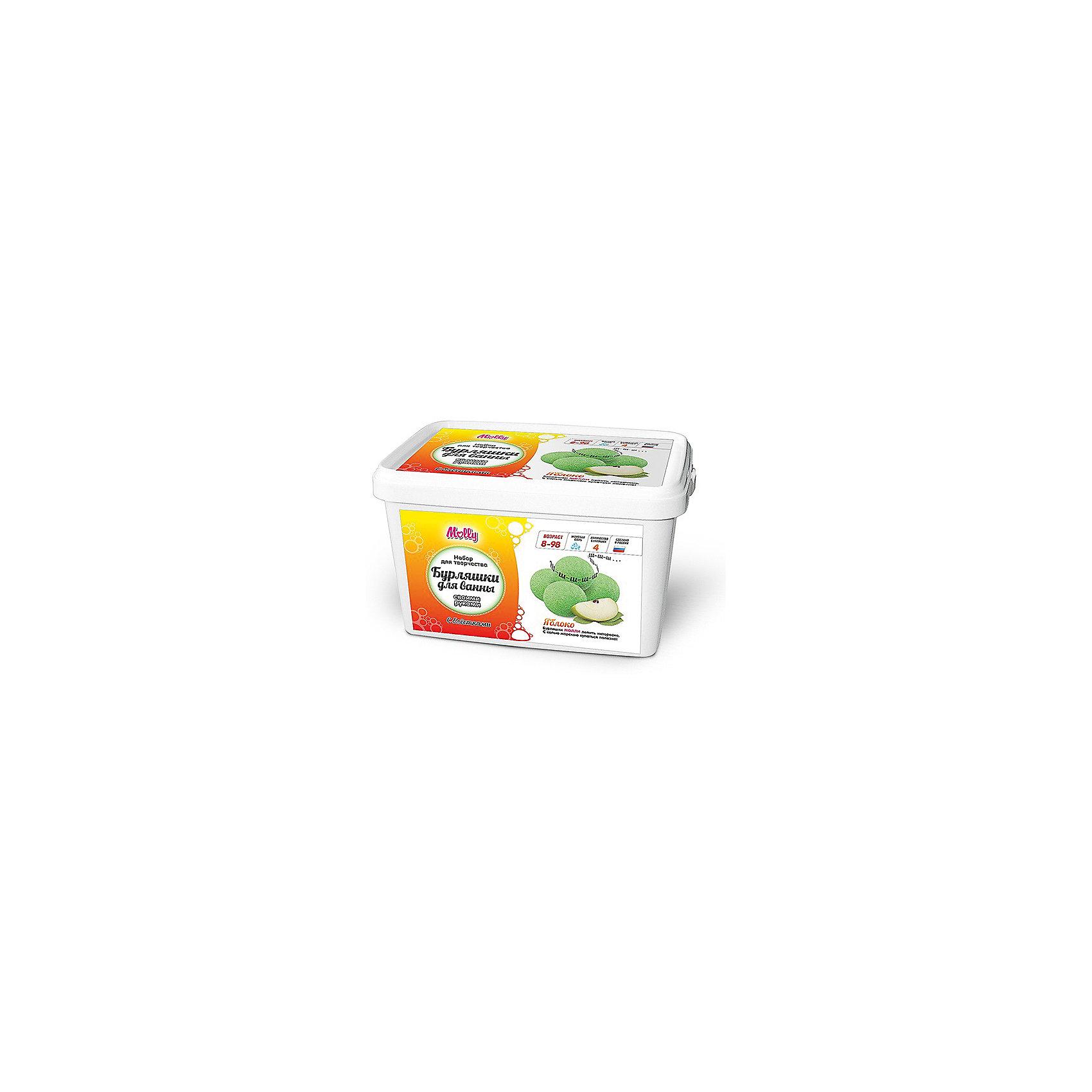 Бурляшки для ванны своими руками ЯблокоНаборы детской косметики<br>Бурляшки для ванны своими руками Яблоко<br><br>Характеристики:<br><br>• В набор входит: сода, соль морская, блёстки, лимонная кислота, краситель, ароматизатор, формочки, защитные перчатки, инструкция.<br>• Размер упаковки: 20 * 11,5 * 13 см.<br>• Время приготовления: 30 минут + 24 часа просушка<br>• Вес: 500 г.<br>• Для детей в возрасте: от 8 лет<br>• Страна производитель: Россия<br><br>В набор входит пакетик с блёстками, чтобы ваши бурляшки были еще более яркими и необычными. В состав включены безопасные и натуральные компоненты. Набор создан с учетом современных новинок и заинтересует каждую девочку. Самодельная бурляшка от Molly (Молли) обильно шипит и выпускает больше пузырей, чем стандартная покупная шипучая соль, а всё потому, что она была сделана с меньшим количеством консервантов и с любовью. Занимаясь с этим творческим набором дети разовьют новый навык, стимулируют свои творческие способности, расширят кругозор, смогут развить навыки терпения, аккуратности.<br><br>Бурляшки для ванны своими руками Яблоко можно купить в нашем интернет-магазине.<br><br>Ширина мм: 200<br>Глубина мм: 130<br>Высота мм: 115<br>Вес г: 500<br>Возраст от месяцев: 96<br>Возраст до месяцев: 168<br>Пол: Унисекс<br>Возраст: Детский<br>SKU: 5417718