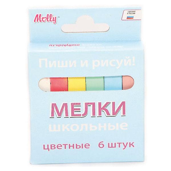 Мел школьный цветной, 6 штМелки для асфальта<br>Характеристики школьного цветного мела:<br><br>• возраст: от 6 лет<br>• пол: для мальчиков и девочек<br>• материал: картон, пластик, краска.<br>• размер упаковки: 10х12х1 см.<br>• упаковка: картонная коробка.<br>• бред: Molly (Молли)<br>• страна обладатель бренда: Россия.<br><br>Цветные мелки российского производителя Molly позволят вашему малышу проявить свои творческие способности. Рисование мелом – это отличная возможность для самовыражения, а также развития художественных способностей. Фантазия маленького автора ограничена только размером холста, которым может служить как асфальтовая дорожка или школьная доска, так и обычная бумага или ткань. <br><br>Мелки имеют удобные размер и форму, не крошатся, не царапаются и легко счищаются, если попали на одежду. Несколько расцветок мелков, которые представлены в наборе, позволят маленькому художнику создавать разноцветные рисунки с использованием зеленого, голубого, белого, желтого, розового и красного цветов.<br><br>Мел школьный цветной торговой марки Molly (Молли) можно купить в нашем интернет-магазине.<br>Ширина мм: 83; Глубина мм: 15; Высота мм: 75; Вес г: 120; Возраст от месяцев: 72; Возраст до месяцев: 144; Пол: Унисекс; Возраст: Детский; SKU: 5417719;