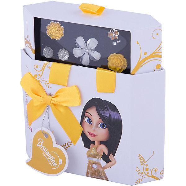 Шкатулка (цвет: золотой), BriliantinaНовогодние наборы для творчества<br>Характеристики:<br><br>• Вид игрушек: детская бижутерия<br>• Пол: для девочки<br>• Серия: Hex Box<br>• Материал: металл, пластик<br>• Цвет: серебристый, золотой<br>• Размер кольца: универсальный<br>• Комплектация: 2 кольца серии Uno, 2 кольца серии Excelent, серьги, футляр<br>• Размер упаковки(Д*Ш*В): 15,5*5,5*17 см<br>• Вес: 160 г<br>• Упаковка: футляр <br>• Допускается сухая и влажная чистка<br><br>Шкатулка (цвет: золотой), Briliantina из коллекции детской бижутерии, которая создается в рамках творческого проекта совместно с детьми. Торговый бренд принадлежит чешскому производителю Briliantina. Корпус украшений изготавливается из сплава хрома и никеля, который не вызывает аллергии, не окисляется, обладает легким весом, при этом достаточно прочный. В качестве декоративных элементов используются стразы, кристаллы, которые надежно закреплены в изделии. Диаметр колец от Briliantina регулируется. <br><br>Набор состоит из 4 колец и пары сережек, которые сочетаются между собой. Комплект упакован в футляр, в нем предусмотрены дополнительные отделения для других украшений. Использование детской бижутерии научит правильно подбирать украшения в зависимости от выбранного образа, сочетать их между собой, что будет способствовать формированию индивидуального стиля вашей девочки.<br><br>Шкатулка (цвет: золотой), Briliantina станет идеальным подарком для девочки к любому празднику.<br><br>Шкатулку (цвет: золотой), Briliantina можно купить в нашем интернет-магазине.<br>Ширина мм: 155; Глубина мм: 55; Высота мм: 170; Вес г: 160; Возраст от месяцев: 36; Возраст до месяцев: 84; Пол: Женский; Возраст: Детский; SKU: 5418931;