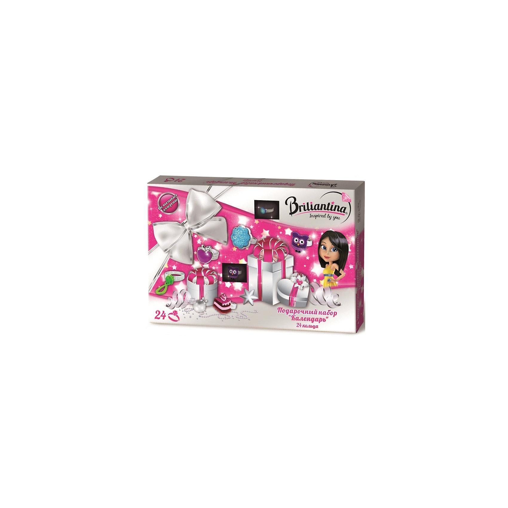 Подарочный набор Календарь - кольца, BriliantinaХарактеристики:<br><br>• Вид игрушек: детская бижутерия<br>• Пол: для девочки<br>• Материал: металл, пластик<br>• Цвет: серебристый, розовый, бирюзовый<br>• Размер кольца: универсальный<br>• Комплектация: 24 кольца<br>• Размер упаковки(Д*Ш*В): 35*3*24 см<br>• Вес: 282 г<br>• Упаковка: картонная коробка <br>• Допускается сухая и влажная чистка<br><br>Подарочный набор Календарь - кольца, Briliantina из коллекции детской бижутерии, которая создается в рамках творческого проекта совместно с детьми. Торговый бренд принадлежит чешскому производителю Briliantina. Корпус украшений изготавливается из сплава хрома и никеля, который не вызывает аллергии, не окисляется, обладает легким весом, при этом достаточно прочный. В качестве декоративных элементов используются стразы, кристаллы, которые надежно закреплены в изделии. Диаметр колец от Briliantina регулируется. <br><br>Набор состоит из 24 отличающихся по стилю, цвету и форме колец. . Использование детской бижутерии научит правильно подбирать украшения в зависимости от выбранного образа, сочетать их между собой, что будет способствовать формированию индивидуального стиля вашей девочки.<br><br>Подарочный набор Календарь - кольца, Briliantina станет идеальным подарком для девочки к любому празднику.<br><br>Подарочный набор Календарь - кольца, Briliantina можно купить в нашем интернет-магазине.<br><br>Ширина мм: 350<br>Глубина мм: 30<br>Высота мм: 240<br>Вес г: 282<br>Возраст от месяцев: 36<br>Возраст до месяцев: 84<br>Пол: Женский<br>Возраст: Детский<br>SKU: 5418933