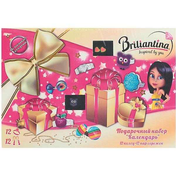 Подарочный набор Календарь, BriliantinaАксессуары для творчества<br>Характеристики:<br><br>• Вид игрушек: детская бижутерия<br>• Пол: для девочки<br>• Материал: металл, пластик<br>• Цвет: серебристый, розовый, бирюзовый<br>• Размер кольца: универсальный<br>• Комплектация: 12 коллец, 12 пар сережек<br>• Размер упаковки(Д*Ш*В): 35*3*24 см<br>• Вес: 269 г<br>• Упаковка: картонная коробка <br>• Допускается сухая и влажная чистка<br><br>Подарочный набор Календарь, Briliantina из коллекции детской бижутерии, которая создается в рамках творческого проекта совместно с детьми. Торговый бренд принадлежит чешскому производителю Briliantina. Корпус украшений изготавливается из сплава хрома и никеля, который не вызывает аллергии, не окисляется, обладает легким весом, при этом достаточно прочный. В качестве декоративных элементов используются стразы, кристаллы, которые надежно закреплены в изделии. Диаметр колец от Briliantina регулируется. <br><br>Набор состоит из 12 колец и 12 пар сережек, отличающихся по стилю, цвету и форме колец. Использование детской бижутерии научит правильно подбирать украшения в зависимости от выбранного образа, сочетать их между собой, что будет способствовать формированию индивидуального стиля вашей девочки.<br><br>Подарочный набор Календарь, Briliantina станет идеальным подарком для девочки к любому празднику.<br><br>Подарочный набор Календарь, Briliantina можно купить в нашем интернет-магазине.<br><br>Ширина мм: 350<br>Глубина мм: 30<br>Высота мм: 240<br>Вес г: 269<br>Возраст от месяцев: 36<br>Возраст до месяцев: 84<br>Пол: Женский<br>Возраст: Детский<br>SKU: 5418934