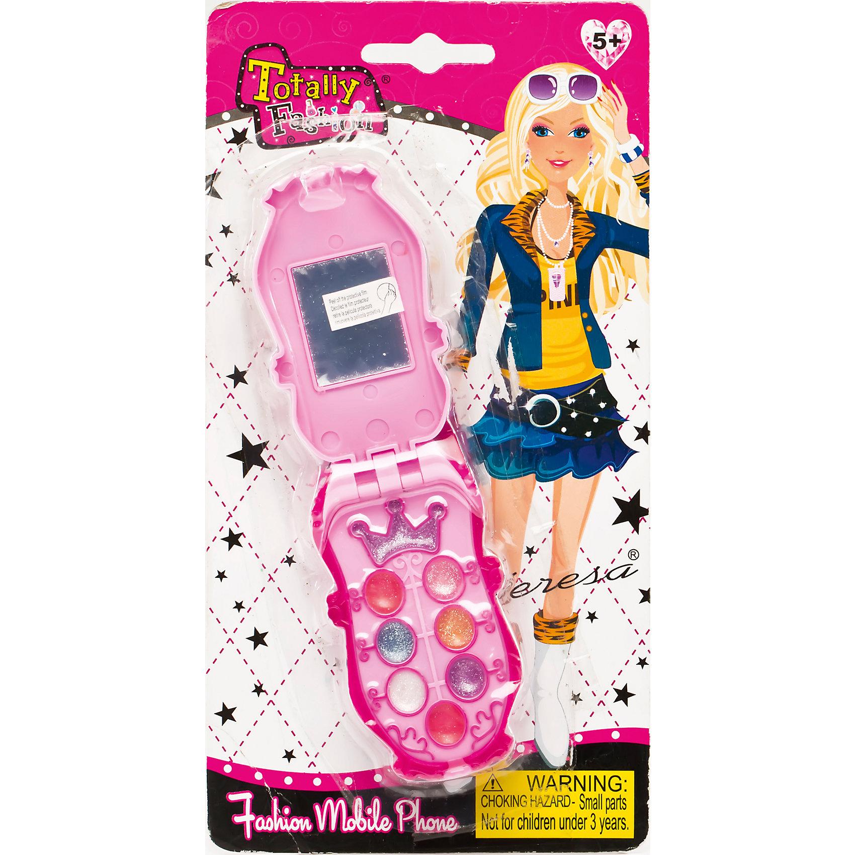 Игровой косметический набор Телефон, Totally FashionКосметика, грим и парфюмерия<br>Характеристики:<br><br>• Вид игрушек: детская косметика<br>• Пол: для девочки<br>• Материал: пластик, натуральные компоненты и красители<br>• Цвет: оттенки розового, голубой, бежевый и др.<br>• Форма футляра: телефон<br>• Комплектация: <br> блеск для губ – 6 тонов <br> тени для век – 4 тона<br> аппликатор – 1 шт.     <br> кисточка – 1 шт.<br>• Размер упаковки(Д*Ш*В): 12*3,5*23 см<br>• Вес: 62 г<br>• Упаковка: блистер на картонной подложке<br>• Допускается сухая и влажная чистка футляра снаружи<br><br>Игровой косметический набор Телефон, Totally Fashion – это набор от мирового лидера в производстве натуральной и безопасной косметики как для взрослых, так и для детей. Линейка наборов Totally Fashion представляет собой яркие, безопасные и оригинальные косметические наборы для девочек. Используемые в производстве ингредиенты и материалы имеют международные сертификаты безопасности. Декоративные тени и блеск легко смываются теплой водой, не оставляют пятен на одежде и не вызывают раздражение. <br><br>В палитре оттенков имеются самые модные цвета, в комплекте предусмотрен аппликатор с кисточкой, который позволит легко и аккуратно сделать макияж. Косметический набор выполнен в оригинальном виде: телефон-раскладушка, на месте экрана которого предусмотрено зеркальце. <br>Игровой косметический набор Телефон, Totally Fashion станет идеальным подарком для девочки к любому празднику.<br><br>Игровой косметический набор Телефон, Totally Fashion можно купить в нашем интернет-магазине.<br><br>Ширина мм: 120<br>Глубина мм: 35<br>Высота мм: 230<br>Вес г: 62<br>Возраст от месяцев: 60<br>Возраст до месяцев: 120<br>Пол: Женский<br>Возраст: Детский<br>SKU: 5418935