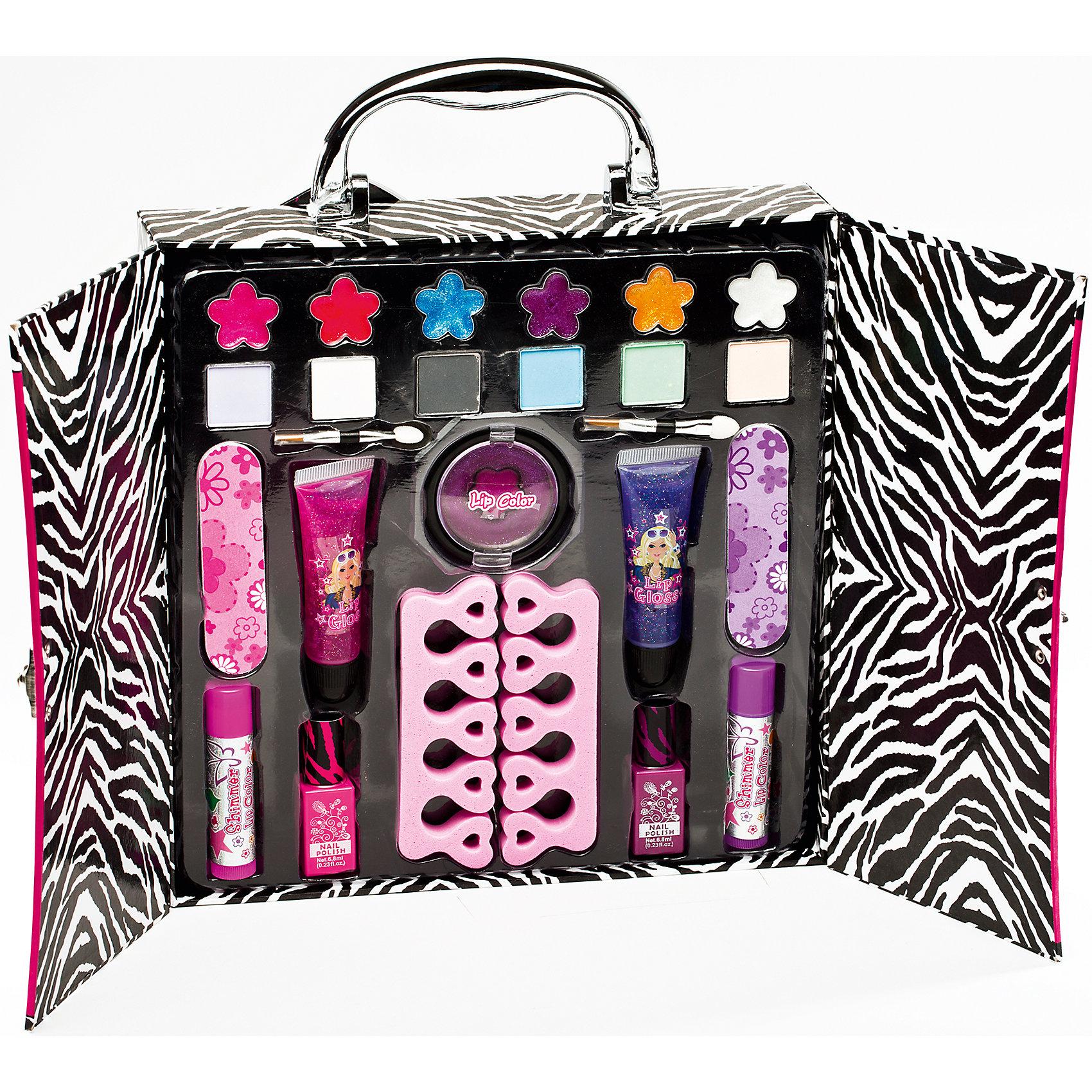 Игровой косметический набор Визаж, Totally FashionХарактеристики:<br><br>• Вид игрушек: детская косметика<br>• Пол: для девочки<br>• Материал: пластик, натуральные компоненты и красители<br>• Цвет: оттенки розового, голубой, бежевый, фиолетовый, бирюзовый и др.<br>• Комплектация: <br> блеск для губ – 7 тонов <br> тени для век – 6 тонов <br> лак для ногтей – 2 тона <br> аппликатор – 1 шт. <br> кисточка – 1 шт.<br> разделители для пальцев – 2 шт.<br>• Размер упаковки (Д*Ш*В): 23*5,2*24 см<br>• Вес: 440 г<br>• Упаковка: футляр с ручкой <br><br>Игровой косметический набор Визаж, Totally Fashion от мирового лидера в производстве натуральной и безопасной косметики как для взрослых, так и для детей. Линейка наборов Totally Fashion представляет собой яркие, безопасные и оригинальные косметические наборы для девочек. Используемые в производстве ингредиенты и материалы имеют международные сертификаты безопасности. <br><br>Декоративные тени, румяна, блеск и лак для ногтей легко смываются теплой водой, не оставляют пятен на одежде и не вызывают раздражение. В палитре оттенков имеются самые модные и стильные оттенки. В наборе предусмотрены инструменты и аксессуары, которые позволят аккуратно нанести макияж и сделать маникюр или педикюр. Футляр для декоративной косметики выполнен в брендовом дизайне.<br><br>Игровой косметический набор Визаж, Totally Fashion станет идеальным подарком для девочки к любому празднику.<br><br>Игровой косметический набор Визаж, Totally Fashion можно купить в нашем интернет-магазине.<br><br>Ширина мм: 230<br>Глубина мм: 52<br>Высота мм: 240<br>Вес г: 440<br>Возраст от месяцев: 60<br>Возраст до месяцев: 120<br>Пол: Женский<br>Возраст: Детский<br>SKU: 5418948