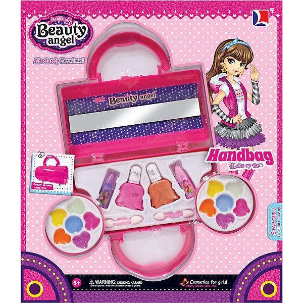 Игровой косметический набор Клатч, Beauty AngelНаборы детской косметики<br>Характеристики:<br><br>• Вид игрушек: детская косметика<br>• Пол: для девочки<br>• Материал: пластик, натуральные компоненты и красители<br>• Цвет: оттенки розового, голубой, желтый, зеленый, оранжевый и др.<br>• Комплектация: <br> блеск для губ – 12 тонов<br> губная помада – 2 тона<br> лак для ногтей – 2 тона<br> кисточка – 2 шт.<br>• Форма футляра: клатч<br>• Размер упаковки (Д*Ш*В): 33,5*6*29 см<br>• Вес: 348 г<br>• Упаковка: картонная коробка с блистером<br><br>Игровой косметический набор Клатч, Beauty Angel от всемирно известного торгового бренда Dileny, который занимается разработкой, дизайном и выпуском детской декоративной косметики с учетом модных и стильных тенденций мира моды. Линейка наборов Beauty Angel представляет собой косметические наборы в состав которых входят как матовые, так и перламутровые оттенки, аксессуары и инструменты для нанесения макияжа. <br><br>Декоративная косметика от Dileny легко наносится, ложится ровным слоем, не осыпается и легко смывается либо теплой водой, либо детским косметическим маслом. Косметика обладает повышенными гипоаллергенными свойствами и легким ароматом. Игровой косметический набор Клатч, Beauty Angel состоит из 12 оттенков блеска для губ, 2 оттенков губной помады, лака для ногтей и кисточек. Футляр выполнен в форме клатча.<br><br>Игровой косметический набор Клатч, Beauty Angel станет идеальным подарком для девочки к любому празднику.<br><br>Игровой косметический набор Клатч, Beauty Angel можно купить в нашем интернет-магазине.<br><br>Ширина мм: 335<br>Глубина мм: 60<br>Высота мм: 290<br>Вес г: 348<br>Возраст от месяцев: 60<br>Возраст до месяцев: 120<br>Пол: Женский<br>Возраст: Детский<br>SKU: 5418955