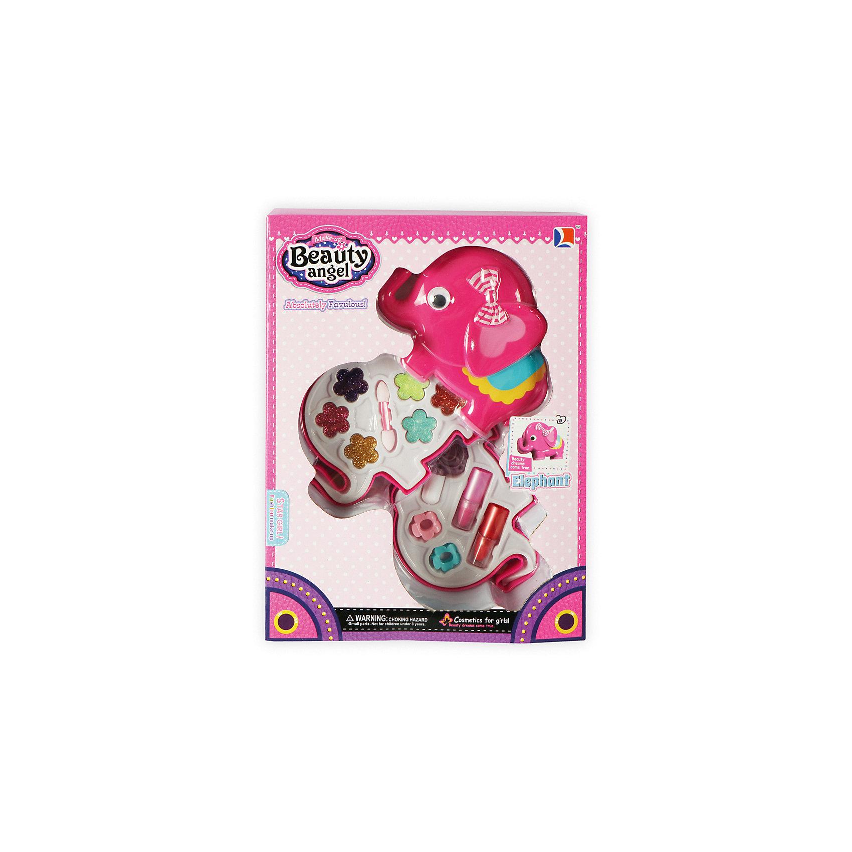 Игровой косметический набор Слоник, Beauty AngelКосметика, грим и парфюмерия<br>Характеристики:<br><br>• Вид игрушек: детская косметика<br>• Пол: для девочки<br>• Материал: пластик, натуральные компоненты и красители<br>• Цвет: оттенки розового, голубой, желтый, зеленый, оранжевый и др.<br>• Комплектация: <br> тени для век с блестками – 6 тонов<br> губная помада – 2 тона<br> лак для ногтей – 1 тон<br> кисточка – 1 шт.<br>• Форма футляра: слоник<br>• Размер упаковки (Д*Ш*В): 37*4,8*35 см<br>• Вес: 362 г<br>• Упаковка: картонная коробка с блистером<br><br>Игровой косметический набор Слоник, Beauty Angel от всемирно известного торгового бренда Dileny, который занимается разработкой, дизайном и выпуском детской декоративной косметики с учетом модных и стильных тенденций мира моды. Линейка наборов Beauty Angel представляет собой косметические наборы в состав которых входят как матовые, так и перламутровые оттенки, аксессуары и инструменты для нанесения макияжа. <br><br>Декоративная косметика от Dileny легко наносится, ложится ровным слоем, не осыпается и легко смывается либо теплой водой, либо детским косметическим маслом. Косметика обладает повышенными гипоаллергенными свойствами и легким ароматом. Игровой косметический набор Слоник, Beauty Angel состоит из 6 оттенков теней для век с блестками, 2 оттенков губной помады, лака для ногтей и кисточки. Футляр с двумя отделениями выполнен в форме слоника.<br><br>Игровой косметический набор Слоник, Beauty Angel станет идеальным подарком для девочки к любому празднику.<br><br>Игровой косметический набор Слоник, Beauty Angel можно купить в нашем интернет-магазине.<br><br>Ширина мм: 278<br>Глубина мм: 55<br>Высота мм: 200<br>Вес г: 219<br>Возраст от месяцев: 60<br>Возраст до месяцев: 120<br>Пол: Женский<br>Возраст: Детский<br>SKU: 5418958