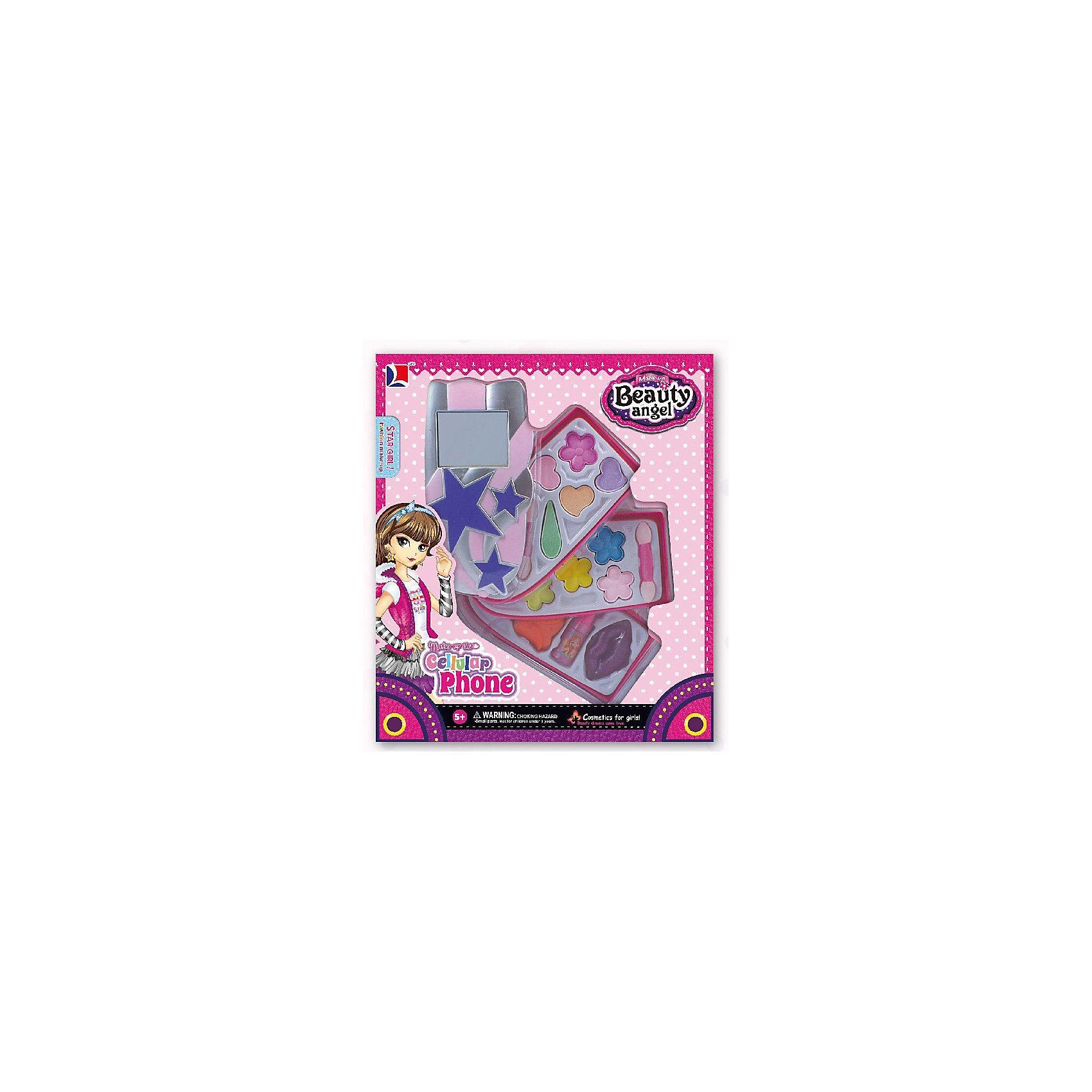 Игровой косметический набор Телефон (2 дизайна в ассортименте), Beauty AngelКосметика, грим и парфюмерия<br>Характеристики:<br><br>• Вид игрушек: детская косметика<br>• Пол: для девочки<br>• Материал: пластик, натуральные компоненты и красители<br>• Цвет: оттенки розового, голубой, желтый, зеленый, оранжевый и др.<br>• Комплектация: <br> тени для век – 10 тонов<br> блеск для губ – 1 тон<br> губная помада – 1 тон<br> лак для ногтей – 1 тон<br> кисточка – 1 шт.<br>• Форма футляра: телефон<br>• Размер упаковки (Д*Ш*В): 20*5,7*23,3 см<br>• Вес: 193 г<br>• Упаковка: картонная коробка с блистером<br><br>Игровой косметический набор Телефон, Beauty Angel от всемирно известного торгового бренда Dileny, который занимается разработкой, дизайном и выпуском детской декоративной косметики с учетом модных и стильных тенденций мира моды. Линейка наборов Beauty Angel представляет собой косметические наборы в состав которых входят как матовые, так и перламутровые оттенки, аксессуары и инструменты для нанесения макияжа. <br><br>Декоративная косметика от Dileny легко наносится, ложится ровным слоем, не осыпается и легко смывается либо теплой водой, либо детским косметическим маслом. Косметика обладает повышенными гипоаллергенными свойствами и легким ароматом. Игровой косметический набор Телефон, Beauty Angel состоит из 10 оттенков теней для век, блеска для губ, губной помады, лака для ногтей и кисточки. Футляр с тремя отделениями выполнен в форме слоника.<br><br>Игровой косметический набор Телефон, Beauty Angel станет идеальным подарком для девочки к любому празднику.<br><br>Игровой косметический набор Телефон, Beauty Angel можно купить в нашем интернет-магазине.<br><br>Ширина мм: 200<br>Глубина мм: 57<br>Высота мм: 233<br>Вес г: 193<br>Возраст от месяцев: 60<br>Возраст до месяцев: 120<br>Пол: Женский<br>Возраст: Детский<br>SKU: 5418959