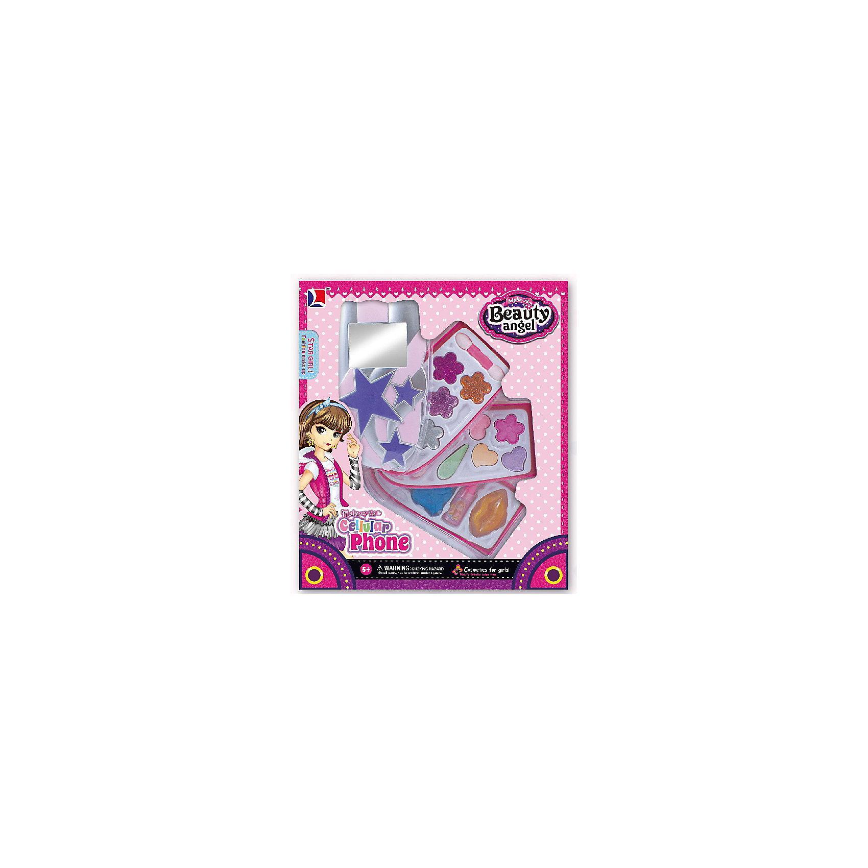 Игровой косметический набор Телефон-блеск (2 дизайна в ассортименте), Beauty AngelХарактеристики:<br><br>• Вид игрушек: детская косметика<br>• Пол: для девочки<br>• Материал: пластик, натуральные компоненты и красители<br>• Цвет: оттенки розового, голубой, желтый, зеленый, оранжевый и др.<br>• Комплектация: <br> тени для век с блестками – 10 тонов<br> блеск для губ – 1 тон<br> губная помада – 1 тон<br> лак для ногтей – 1 тон<br> кисточка – 1 шт.<br>• Форма футляра: телефон<br>• Размер упаковки (Д*Ш*В): 20*5,7*23,3 см<br>• Вес: 193 г<br>• Упаковка: картонная коробка с блистером<br><br>Игровой косметический набор Телефон-блеск, Beauty Angel от всемирно известного торгового бренда Dileny, который занимается разработкой, дизайном и выпуском детской декоративной косметики с учетом модных и стильных тенденций мира моды. Линейка наборов Beauty Angel представляет собой косметические наборы в состав которых входят как матовые, так и перламутровые оттенки, аксессуары и инструменты для нанесения макияжа. <br><br>Декоративная косметика от Dileny легко наносится, ложится ровным слоем, не осыпается и легко смывается либо теплой водой, либо детским косметическим маслом. Косметика обладает повышенными гипоаллергенными свойствами и легким ароматом. Игровой косметический набор Телефон-блеск, Beauty Angel состоит из 10 оттенков теней для век с блестками, блеска для губ, губной помады, лака для ногтей и кисточки. Футляр с тремя отделениями выполнен в форме телефона.<br><br>Игровой косметический набор Телефон-блеск, Beauty Angel станет идеальным подарком для девочки к любому празднику.<br><br>Игровой косметический набор Телефон-блеск, Beauty Angel можно купить в нашем интернет-магазине.<br><br>Ширина мм: 200<br>Глубина мм: 57<br>Высота мм: 233<br>Вес г: 193<br>Возраст от месяцев: 60<br>Возраст до месяцев: 120<br>Пол: Женский<br>Возраст: Детский<br>SKU: 5418960