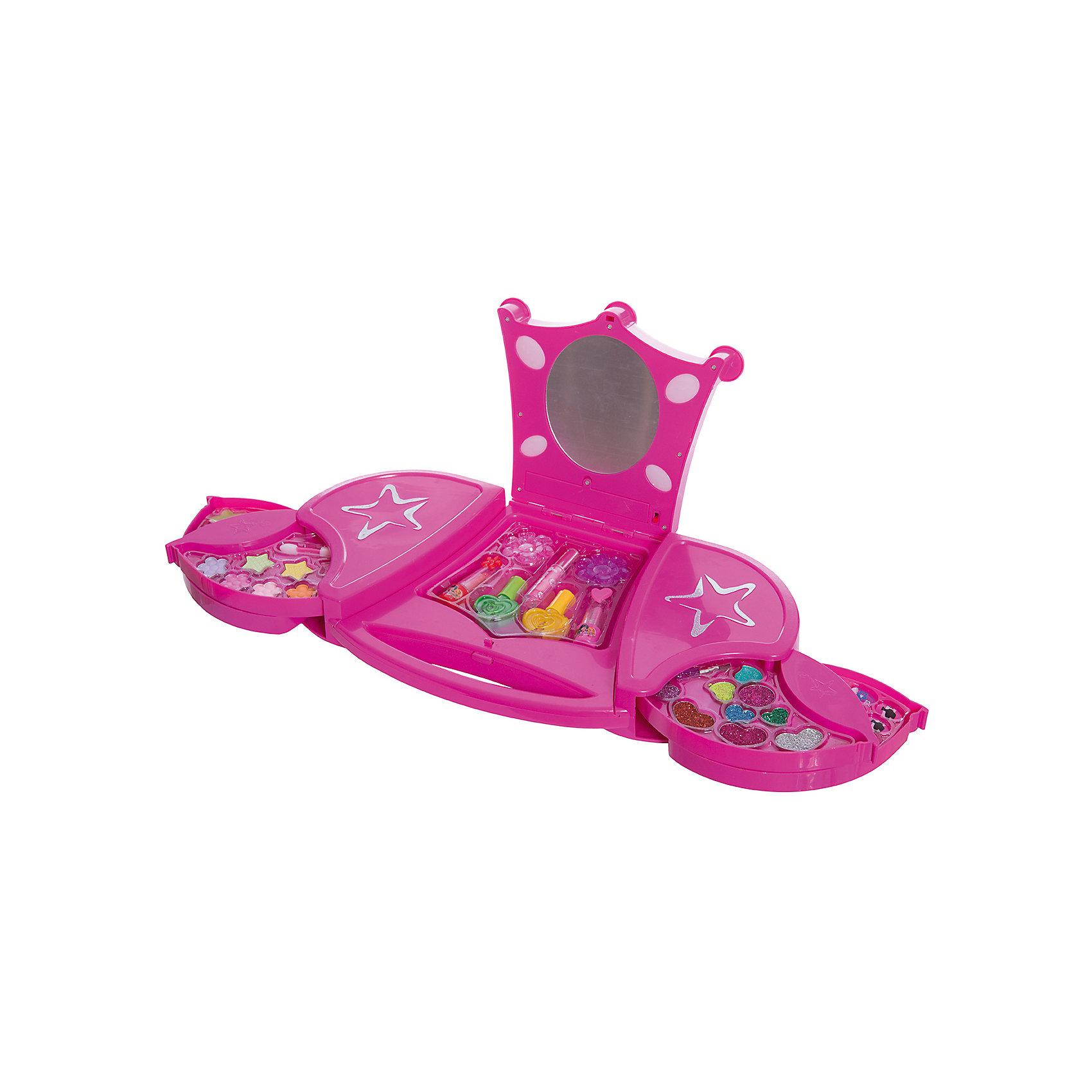 Большой Игровой косметический набор Звездный чемоданчик с подсветкой, Beauty AngelХарактеристики:<br><br>• Вид игрушек: детская косметика<br>• Пол: для девочки<br>• Материал: пластик, натуральные компоненты и красители<br>• Цвет: оттенки розового, голубой, желтый, зеленый, оранжевый и др.<br>• Комплектация: <br> тени для век – 12 тонов<br> блеск для губ – 3 тона<br> губная помада – 2 тона<br> лак для ногтей – 2 тона<br> накладные ногти – 12 шт.<br> кисточка – 2 шт.<br> заколка для волос – 2 шт. <br>• Форма футляра: туалетный столик<br>• У зеркала предусмотрена подстветка<br>• Батарейки: 2 шт. типа АА (в комплекте не предусмотрены)<br>• Размер упаковки (Д*Ш*В): 23,5*6*41,5 см<br>• Вес: 980 г<br>• Упаковка: картонная коробка с блистером<br><br>Большой Игровой косметический набор Звездный чемоданчик с подсветкой, Beauty Angel от всемирно известного торгового бренда Dileny, который занимается разработкой, дизайном и выпуском детской декоративной косметики с учетом модных и стильных тенденций мира моды. Линейка наборов Beauty Angel представляет собой косметические наборы в состав которых входят как матовые, так и перламутровые оттенки, аксессуары и инструменты для нанесения макияжа. <br><br>Декоративная косметика от Dileny легко наносится, ложится ровным слоем, не осыпается и легко смывается либо теплой водой, либо детским косметическим маслом. Косметика обладает повышенными гипоаллергенными свойствами и легким ароматом. Большой Игровой косметический набор Звездный чемоданчик с подсветкой, Beauty Angel состоит из 12 оттенков теней для век, блеска для губ, губной помады, лака для ногтей, накладных ногтей, заколок и кисточек. Футляр выполнен в виде туалетного столика с зеркалом. У зеркала предусмотрена подстветка.<br><br>Большой Игровой косметический набор Звездный чемоданчик с подсветкой, Beauty Angel станет идеальным подарком для девочки к любому празднику.<br><br>Большой Игровой косметический набор Звездный чемоданчик с подсветкой, Beauty Angel можно купить в нашем инте