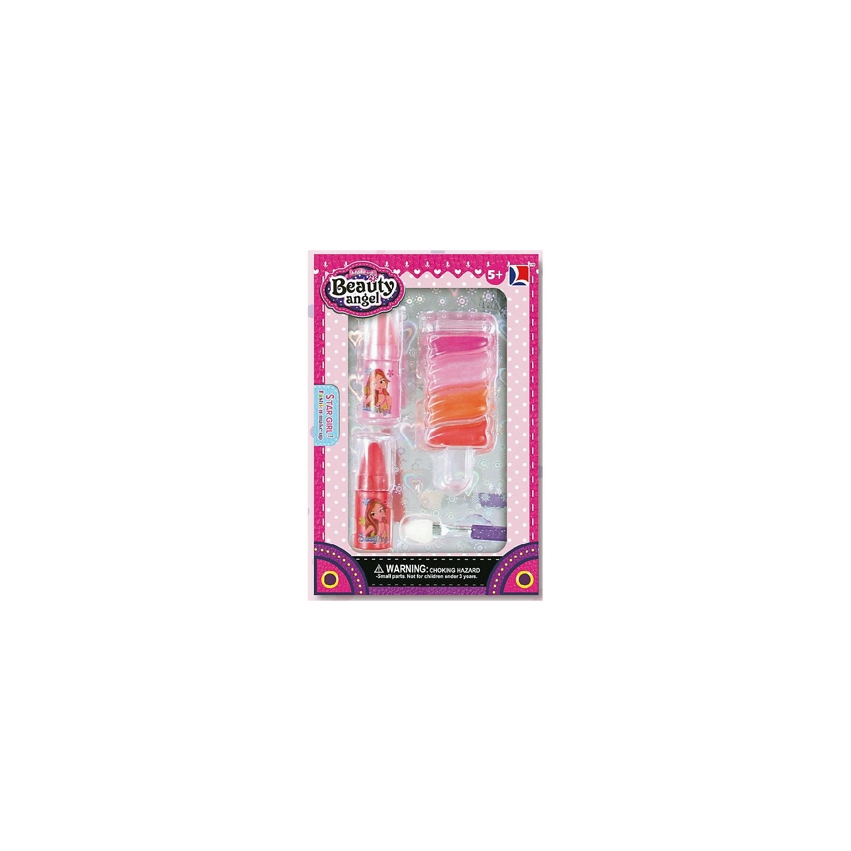 Игровой мини-набор Леденец, Beauty AngelНаборы детской косметики<br>Характеристики:<br><br>• Вид игрушек: детская косметика<br>• Пол: для девочки<br>• Материал: пластик, натуральные компоненты и красители<br>• Цвет: оттенки розового, оранжевый, красный и др.<br>• Комплектация: <br> блеск для губ – 1 тон<br> губная помада – 1 тон<br> кисточка – 1 шт.<br>• Форма футляра: леденец<br>• Размер упаковки (Д*Ш*В): 8,1*2*12 см<br>• Вес: 38 г<br>• Упаковка: картонная коробка с блистером<br><br>Игровой мини-набор Леденец, Beauty Angel от всемирно известного торгового бренда Dileny, который занимается разработкой, дизайном и выпуском детской декоративной косметики с учетом модных и стильных тенденций мира моды. Линейка наборов Beauty Angel представляет собой косметические наборы в состав которых входят как матовые, так и перламутровые оттенки, аксессуары и инструменты для нанесения макияжа. <br><br>Декоративная косметика от Dileny легко наносится, ложится ровным слоем, не осыпается и легко смывается либо теплой водой, либо детским косметическим маслом. Косметика обладает повышенными гипоаллергенными свойствами и легким ароматом. Игровой мини-набор Леденец, Beauty Angel состоит из блеска для губ, губной помады и кисточки. Футляр выполнен в форме леденца.<br><br>Игровой мини-набор Леденец, Beauty Angel станет идеальным подарком для девочки к любому празднику.<br><br>Игровой мини-набор Леденец, Beauty Angel можно купить в нашем интернет-магазине.<br><br>Ширина мм: 81<br>Глубина мм: 20<br>Высота мм: 120<br>Вес г: 38<br>Возраст от месяцев: 60<br>Возраст до месяцев: 120<br>Пол: Женский<br>Возраст: Детский<br>SKU: 5418964