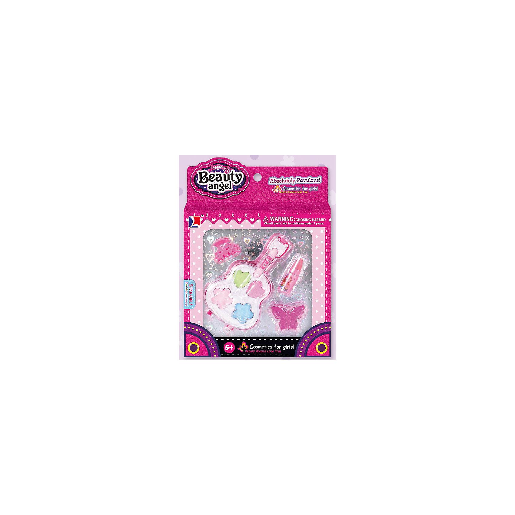 Игровой мини-набор Гитара, Beauty AngelКосметика, грим и парфюмерия<br>Характеристики:<br><br>• Вид игрушек: детская косметика<br>• Пол: для девочки<br>• Материал: пластик, натуральные компоненты и красители<br>• Цвет: розовый, красный, голубой, зеленый<br>• Комплектация: <br> тени для век – 4 тона<br> блеск для губ – 1 тон<br> губная помада – 1 тон<br> заколка для волос – 2 шт.<br> кисточка – 1 шт.<br>• Форма футляра: гитара<br>• Размер упаковки (Д*Ш*В): 14*2,5*19,8 см<br>• Вес: 75 г<br>• Упаковка: картонная коробка с блистером<br><br>Игровой мини-набор Гитара, Beauty Angel от всемирно известного торгового бренда Dileny, который занимается разработкой, дизайном и выпуском детской декоративной косметики с учетом модных и стильных тенденций мира моды. Линейка наборов Beauty Angel представляет собой косметические наборы в состав которых входят как матовые, так и перламутровые оттенки, аксессуары и инструменты для нанесения макияжа. <br><br>Декоративная косметика от Dileny легко наносится, ложится ровным слоем, не осыпается и легко смывается либо теплой водой, либо детским косметическим маслом. Косметика обладает повышенными гипоаллергенными свойствами и легким ароматом. Игровой мини-набор Гитара, Beauty Angel состоит из теней для век, блеска для губ, губной помады и кисточки. В комплект также входят заколки для волос. Футляр выполнен в форме гитары.<br><br>Игровой мини-набор Гитара, Beauty Angel станет идеальным подарком для девочки к любому празднику.<br><br>Игровой мини-набор Гитара, Beauty Angel можно купить в нашем интернет-магазине.<br><br>Ширина мм: 140<br>Глубина мм: 25<br>Высота мм: 198<br>Вес г: 75<br>Возраст от месяцев: 60<br>Возраст до месяцев: 120<br>Пол: Женский<br>Возраст: Детский<br>SKU: 5418969