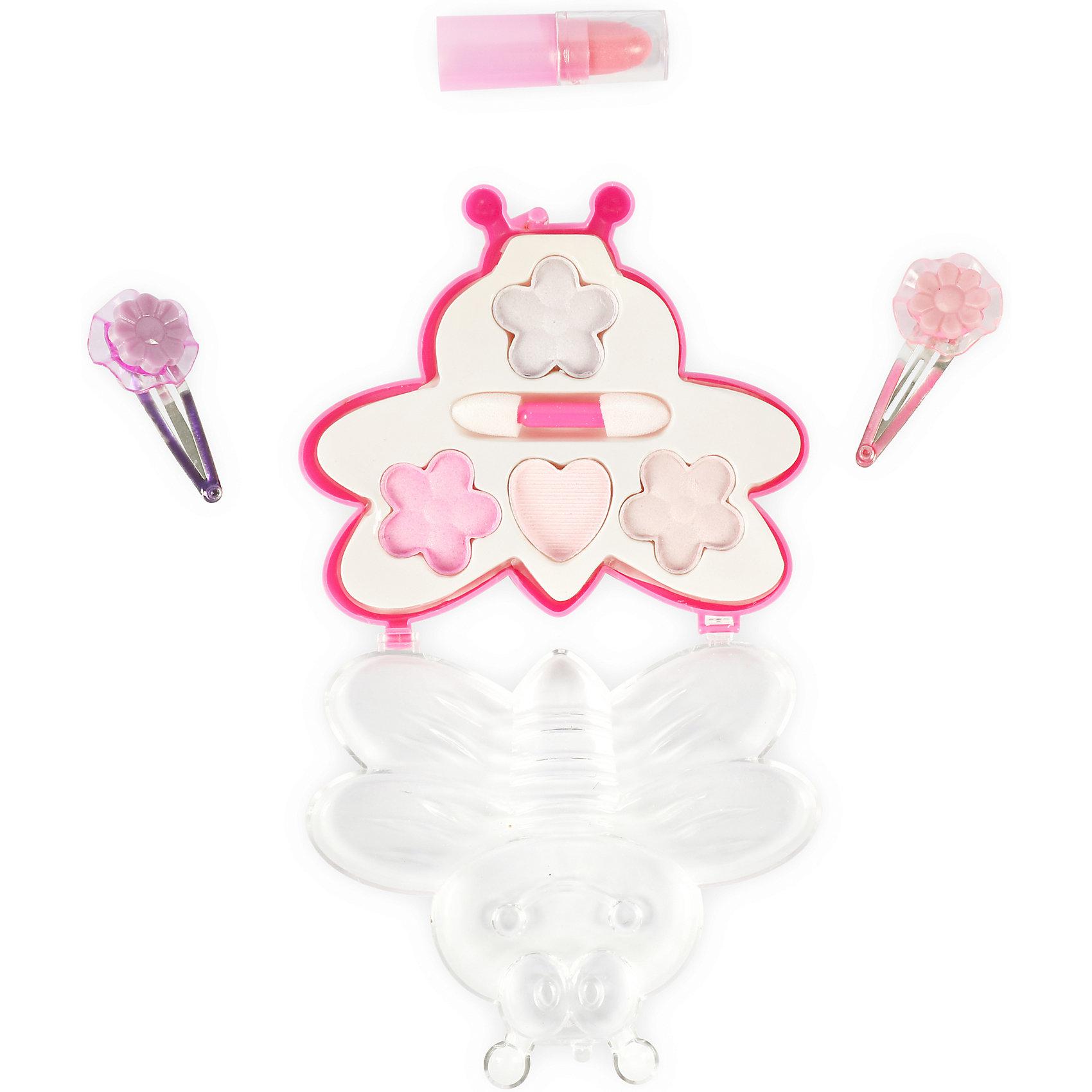 Игровой мини-набор Пчелка, Beauty AngelКосметика, грим и парфюмерия<br>Характеристики:<br><br>• Вид игрушек: детская косметика<br>• Пол: для девочки<br>• Материал: пластик, натуральные компоненты и красители<br>• Цвет: розовый, красный, сиреневый<br>• Комплектация: <br> тени для век – 4 тона<br> губная помада – 1 тон<br> заколка для волос – 2 шт.<br> кисточка – 1 шт.<br>• Форма футляра: пчелка<br>• Размер упаковки (Д*Ш*В): 14*2,5*19,8 см<br>• Вес: 73 г<br>• Упаковка: картонная коробка с блистером<br><br>Игровой мини-набор Пчелка, Beauty Angel от всемирно известного торгового бренда Dileny, который занимается разработкой, дизайном и выпуском детской декоративной косметики с учетом модных и стильных тенденций мира моды. Линейка наборов Beauty Angel представляет собой косметические наборы в состав которых входят как матовые, так и перламутровые оттенки, аксессуары и инструменты для нанесения макияжа. <br><br>Декоративная косметика от Dileny легко наносится, ложится ровным слоем, не осыпается и легко смывается либо теплой водой, либо детским косметическим маслом. Косметика обладает повышенными гипоаллергенными свойствами и легким ароматом. Игровой мини-набор Пчелка, Beauty Angel состоит из теней для век, губной помады и кисточки. В комплект также входят заколки для волос. Футляр выполнен в форме пчелки.<br><br>Игровой мини-набор Пчелка, Beauty Angel станет идеальным подарком для девочки к любому празднику.<br><br>Игровой мини-набор Пчелка, Beauty Angel можно купить в нашем интернет-магазине.<br><br>Ширина мм: 140<br>Глубина мм: 25<br>Высота мм: 198<br>Вес г: 73<br>Возраст от месяцев: 60<br>Возраст до месяцев: 120<br>Пол: Женский<br>Возраст: Детский<br>SKU: 5418970