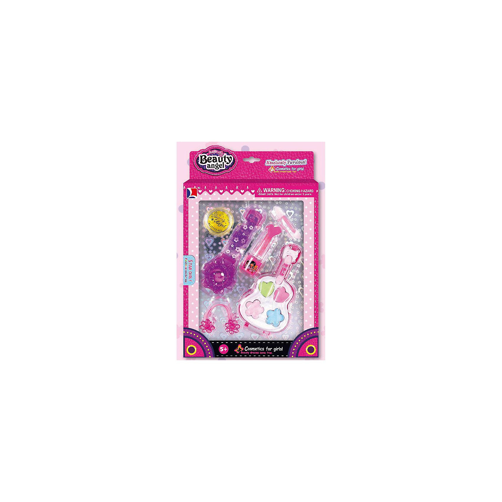 Игровой мини-набор Гитара + Часы, Beauty AngelХарактеристики:<br><br>• Вид игрушек: детская косметика<br>• Пол: для девочки<br>• Материал: пластик, натуральные компоненты и красители<br>• Цвет: розовый, красный, голубой, зеленый, желтый и др.<br>• Комплектация: <br> тени для век – 4 тона<br> блеск для губ – 1 тон<br> губная помада – 1 тон<br> гель с блестками – 1 шт.<br> резинка для волос – 1 шт.<br> кисточка – 2 шт.<br>• Форма футляра: гитара, наручные часы<br>• Размер упаковки (Д*Ш*В): 15,7*2,5*25,9 см<br>• Вес: 120 г<br>• Упаковка: картонная коробка с блистером<br><br>Игровой мини-набор Гитара+Часы, Beauty Angel от всемирно известного торгового бренда Dileny, который занимается разработкой, дизайном и выпуском детской декоративной косметики с учетом модных и стильных тенденций мира моды. Линейка наборов Beauty Angel представляет собой косметические наборы в состав которых входят как матовые, так и перламутровые оттенки, аксессуары и инструменты для нанесения макияжа. <br><br>Декоративная косметика от Dileny легко наносится, ложится ровным слоем, не осыпается и легко смывается либо теплой водой, либо детским косметическим маслом. Косметика обладает повышенными гипоаллергенными свойствами и легким ароматом. Игровой мини-набор Гитара+Часы, Beauty Angel состоит из теней для век, блеска для губ, губной помады и кисточки. В комплект также входят гель с блеском и резиночка для волос. Футляр для теней выполнен в форме гитары, для блеска – в виде наручных часов.<br><br>Игровой мини-набор Гитара+Часы, Beauty Angel станет идеальным подарком для девочки к любому празднику.<br><br>Игровой мини-набор Гитара, Beauty Angel можно купить в нашем интернет-магазине.<br><br>Ширина мм: 157<br>Глубина мм: 25<br>Высота мм: 259<br>Вес г: 120<br>Возраст от месяцев: 60<br>Возраст до месяцев: 120<br>Пол: Женский<br>Возраст: Детский<br>SKU: 5418973