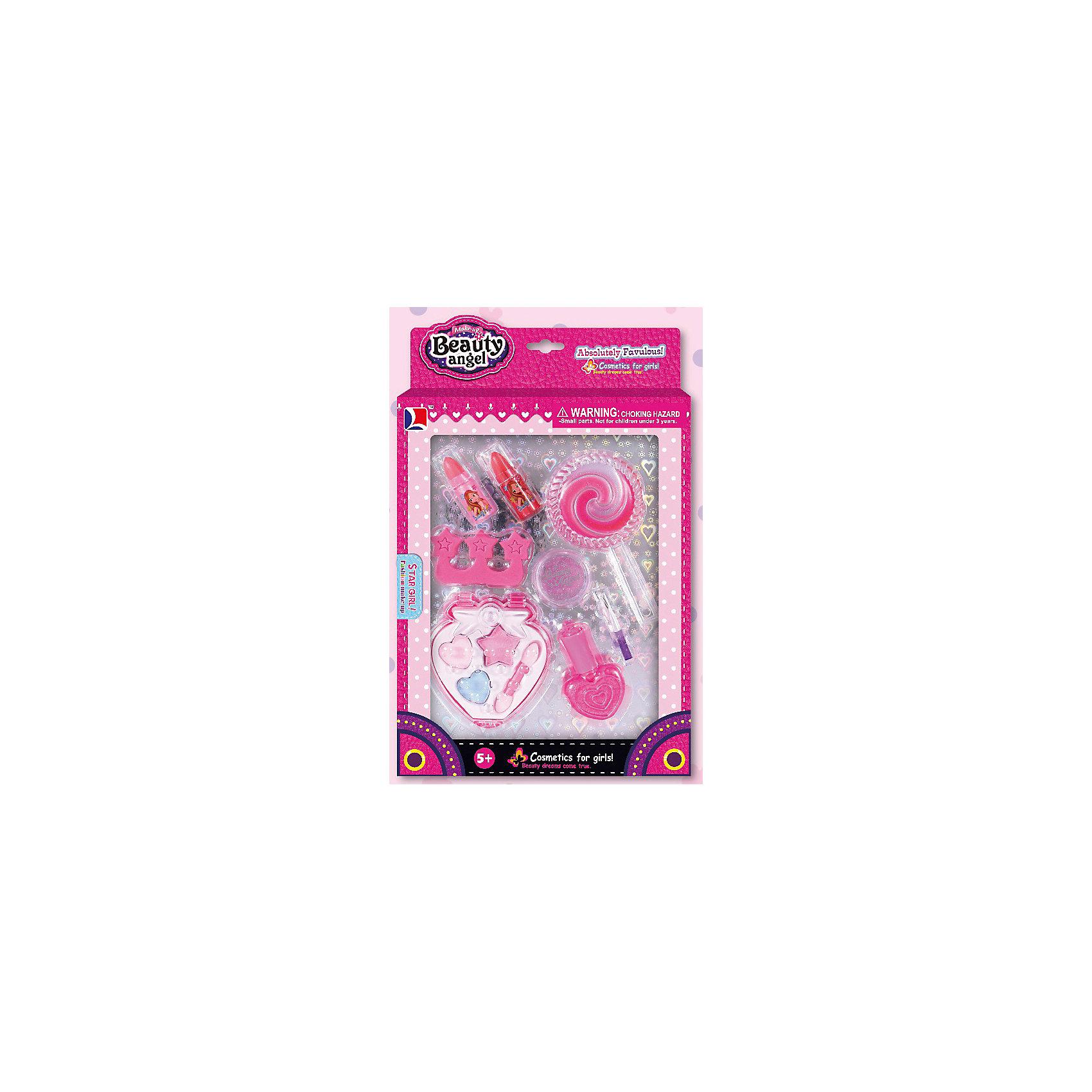 Игровой мини-набор Ягодный твистер, Beauty AngelКосметика, грим и парфюмерия<br>Характеристики:<br><br>• Вид игрушек: детская косметика<br>• Пол: для девочки<br>• Материал: пластик, натуральные компоненты и красители<br>• Цвет: оттенки розового, сиреневый<br>• Комплектация:<br> тени для век – 3 тона<br> блеск для губ – 1 тон<br> губная помада – 1 тона<br> гель с блестками – 1 шт.<br> сепаратор для ногтей – 1 шт.<br> кисточка – 1 шт.<br>• Форма футляра: круглый леденец, клубничка<br>• Размер упаковки (Д*Ш*В): 14*2,5*19,8 см<br>• Вес: 138 г<br>• Упаковка: картонная коробка с блистером<br><br>Игровой мини-набор Ягодный твистер, Beauty Angel от всемирно известного торгового бренда Dileny, который занимается разработкой, дизайном и выпуском детской декоративной косметики с учетом модных и стильных тенденций мира моды. Линейка наборов Beauty Angel представляет собой косметические наборы в состав которых входят как матовые, так и перламутровые оттенки, аксессуары и инструменты для нанесения макияжа. <br><br>Декоративная косметика от Dileny легко наносится, ложится ровным слоем, не осыпается и легко смывается либо теплой водой, либо детским косметическим маслом. Косметика обладает повышенными гипоаллергенными свойствами и легким ароматом. Игровой мини-набор Ягодный твистер, Beauty Angel состоит из блеска для губ, губной помады и теней для век для ногтей. В комплекте предусмотрены гель с блесками, кисточка и сепаратор (разделитель) для ногтей. Футляр для теней выполнен в форме клубнички, для блеска – в форме круглого леденца.<br><br>Игровой мини-набор Ягодный твистер, Beauty Angel станет идеальным подарком для девочки к любому празднику.<br><br>Игровой мини-набор Ягодный твистер, Beauty Angel можно купить в нашем интернет-магазине.<br><br>Ширина мм: 157<br>Глубина мм: 25<br>Высота мм: 259<br>Вес г: 138<br>Возраст от месяцев: 60<br>Возраст до месяцев: 120<br>Пол: Женский<br>Возраст: Детский<br>SKU: 5418974