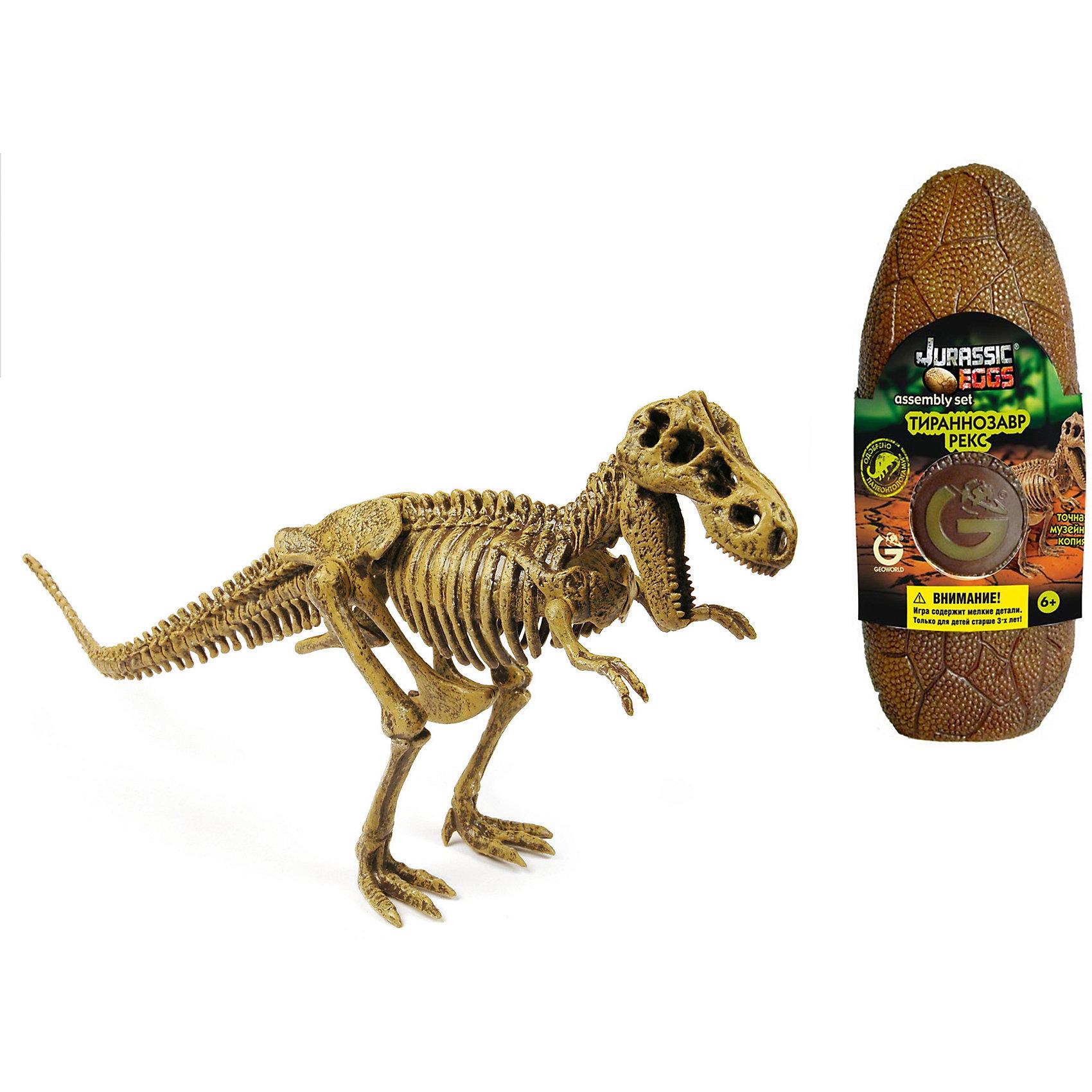 Яйцо динозавра - сборная модель Т-Рекс, GeoworldДеревянные конструкторы<br>Яйцо динозавра Jurassic Eggs — это сборная модель скелета древнего ящера, которую ребенок должен собрать своими руками. В яйце находятся детали, необходимые для сборки, и брошюра. В этом яйце спрятана сборная модель Тираннозавра Рекса (Т-Рекс) — знаменитого хищника. Он был одним из самых крупных хищных ящеров и жил в самое позднее время существования динозавров. Детализированная сборная модель по своему качеству приравнивается к музейному экспонату. Скелет в собранном виде может стать оригинальным сувениром, украшением вашего дома. Сборка палеонтологической модели подогреет интересы юного ученого, позволит тренировать моторику, пространственное мышление и внимательность. Длина собранной модели: 34 см.  детали, яйцо, брошюра.<br><br>Ширина мм: 80<br>Глубина мм: 70<br>Высота мм: 200<br>Вес г: 190<br>Возраст от месяцев: 36<br>Возраст до месяцев: 96<br>Пол: Унисекс<br>Возраст: Детский<br>SKU: 5418975