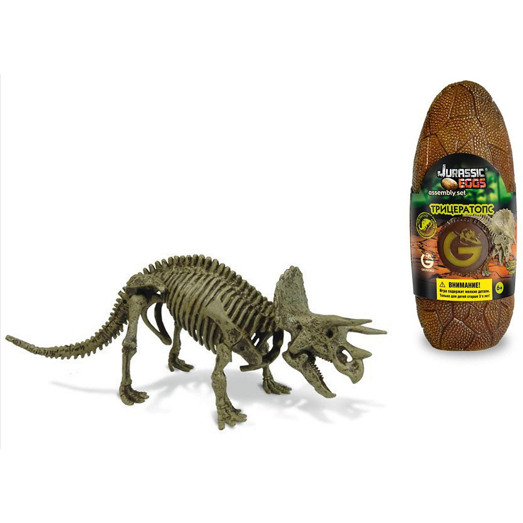 Яйцо динозавра - сборная модель Трицератопса, GeoworldДеревянные конструкторы<br>Трицератопс обладает характерной, легко узнаваемой внешностью. Его голова украшена большими пластинами и тремя рогами. Несмотря на то, что динозавр относится к растительноядным, он все же был очень опасным существом, и хорошо защищался от хищников. Из этого набора ребенок сможет своими руками собрать настоящий мини-экспонат музейного качества — скелет трицератопса. Сборка осуществляется из качественных предварительно окрашенных деталей. Они упакованы в стилизованное яйцо. Сборка палеонтологической модели подогреет интересы юного ученого, позволит тренировать моторику, пространственное мышление и внимательность. Длина собранной модели: 21 см.  детали, яйцо, брошюра.<br><br>Ширина мм: 80<br>Глубина мм: 70<br>Высота мм: 200<br>Вес г: 190<br>Возраст от месяцев: 36<br>Возраст до месяцев: 96<br>Пол: Унисекс<br>Возраст: Детский<br>SKU: 5418978