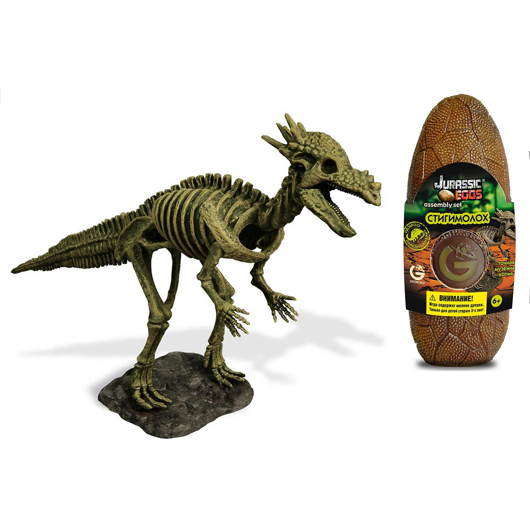 Яйцо динозавра - сборная модель Стигимолоха, GeoworldДеревянные конструкторы<br>Травоядный динозавр стигимолох обладает интересной внешностью. Этот травоядный ящер защищался от хищников большой рогатой головой, при этом рога находились в задней части черепа. Высочайшее качество сборной модели стигомолоха из набора Jurassic Eggs подтверждена репутацией бреда Geoworld. Этой компанией управляет доктор палеонтологии, который лично участвует в разработке каждой модели. Детали для сборки скелета стигомолоха находятся в стилизованой упаковке — яйце. Сборка палеонтологической модели подогреет интересы юного ученого, позволит тренировать моторику, пространственное мышление и внимательность. Длина собранной модели: 28 см.  детали, яйцо, брошюра.<br><br>Ширина мм: 80<br>Глубина мм: 70<br>Высота мм: 200<br>Вес г: 190<br>Возраст от месяцев: 36<br>Возраст до месяцев: 96<br>Пол: Унисекс<br>Возраст: Детский<br>SKU: 5418981