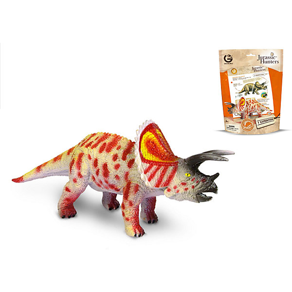Динозавр Трицератопс, коллекция Jurassic Hunter, GeoworldМир животных<br>Характеристики товара:<br><br>• материал: пластик<br>• возраст: от 4 лет<br>• длина игрушки: 17 см<br>• масштаб: 1:60<br>• в комплекте: фигурка динозавра, страница с научной информацией о динозавре, мини-буклет с указанием полной коллекции Jurassic Hunters (Охотников за Динозаврами).<br>• габариты упаковки: 21х8х27 см<br>• вес: 135 г<br>• страна бренда: Италия<br><br>Детализированная фигурка отлично впишется в коллекцию динозавров юного палеонтолога. Уникальный дизайн, проработанные мелкие детали и художественное исполнение сделали игрушку очень реалистичной и перенесли ее в раздел коллекционных моделей. Материалы, использованные при изготовлении товаров, проходят проверку на качество и соответствие международным требованиям по безопасности.<br>Такие фигурки помогают привить детям любовь к учебе, развить воображение и интерес к коллекционированию.<br><br>Динозавр Трицератопс, коллекция Jurassic Hunter, от бренда Geoworld можно купить в нашем интернет-магазине.<br>Ширина мм: 210; Глубина мм: 80; Высота мм: 270; Вес г: 135; Возраст от месяцев: 48; Возраст до месяцев: 108; Пол: Унисекс; Возраст: Детский; SKU: 5418988;