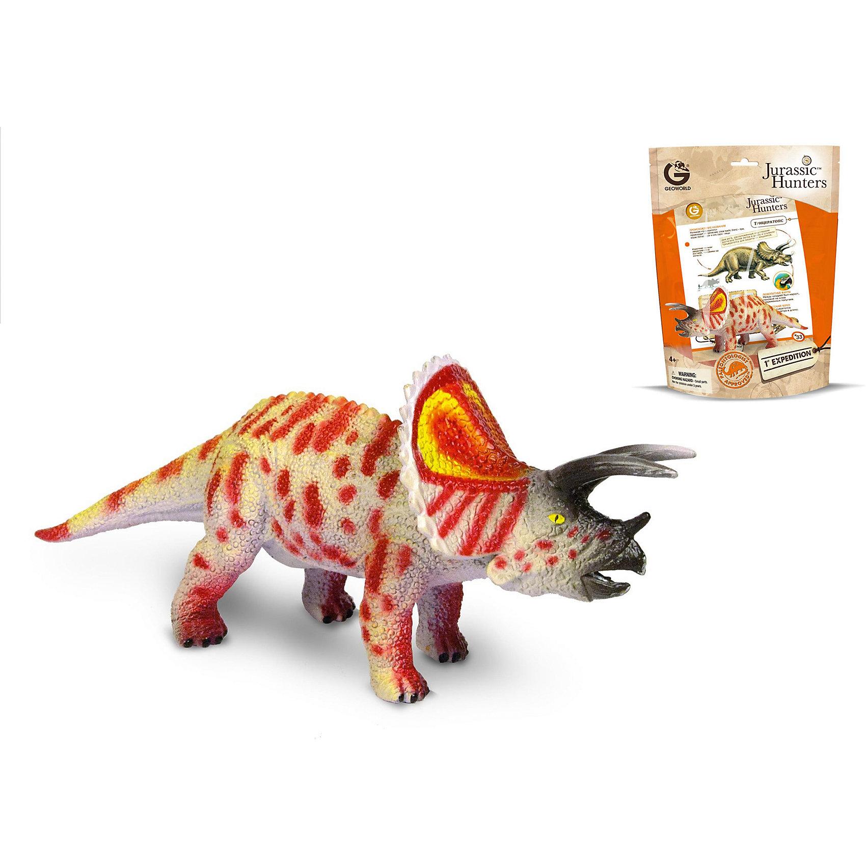Динозавр Трицератопс, коллекция Jurassic Hunter, GeoworldДраконы и динозавры<br>Характеристики товара:<br><br>• материал: пластик<br>• возраст: от 4 лет<br>• длина игрушки: 17 см<br>• масштаб: 1:60<br>• в комплекте: фигурка динозавра, страница с научной информацией о динозавре, мини-буклет с указанием полной коллекции Jurassic Hunters (Охотников за Динозаврами).<br>• габариты упаковки: 21х8х27 см<br>• вес: 135 г<br>• страна бренда: Италия<br><br>Детализированная фигурка отлично впишется в коллекцию динозавров юного палеонтолога. Уникальный дизайн, проработанные мелкие детали и художественное исполнение сделали игрушку очень реалистичной и перенесли ее в раздел коллекционных моделей. Материалы, использованные при изготовлении товаров, проходят проверку на качество и соответствие международным требованиям по безопасности.<br>Такие фигурки помогают привить детям любовь к учебе, развить воображение и интерес к коллекционированию.<br><br>Динозавр Трицератопс, коллекция Jurassic Hunter, от бренда Geoworld можно купить в нашем интернет-магазине.<br><br>Ширина мм: 210<br>Глубина мм: 80<br>Высота мм: 270<br>Вес г: 135<br>Возраст от месяцев: 48<br>Возраст до месяцев: 108<br>Пол: Унисекс<br>Возраст: Детский<br>SKU: 5418988