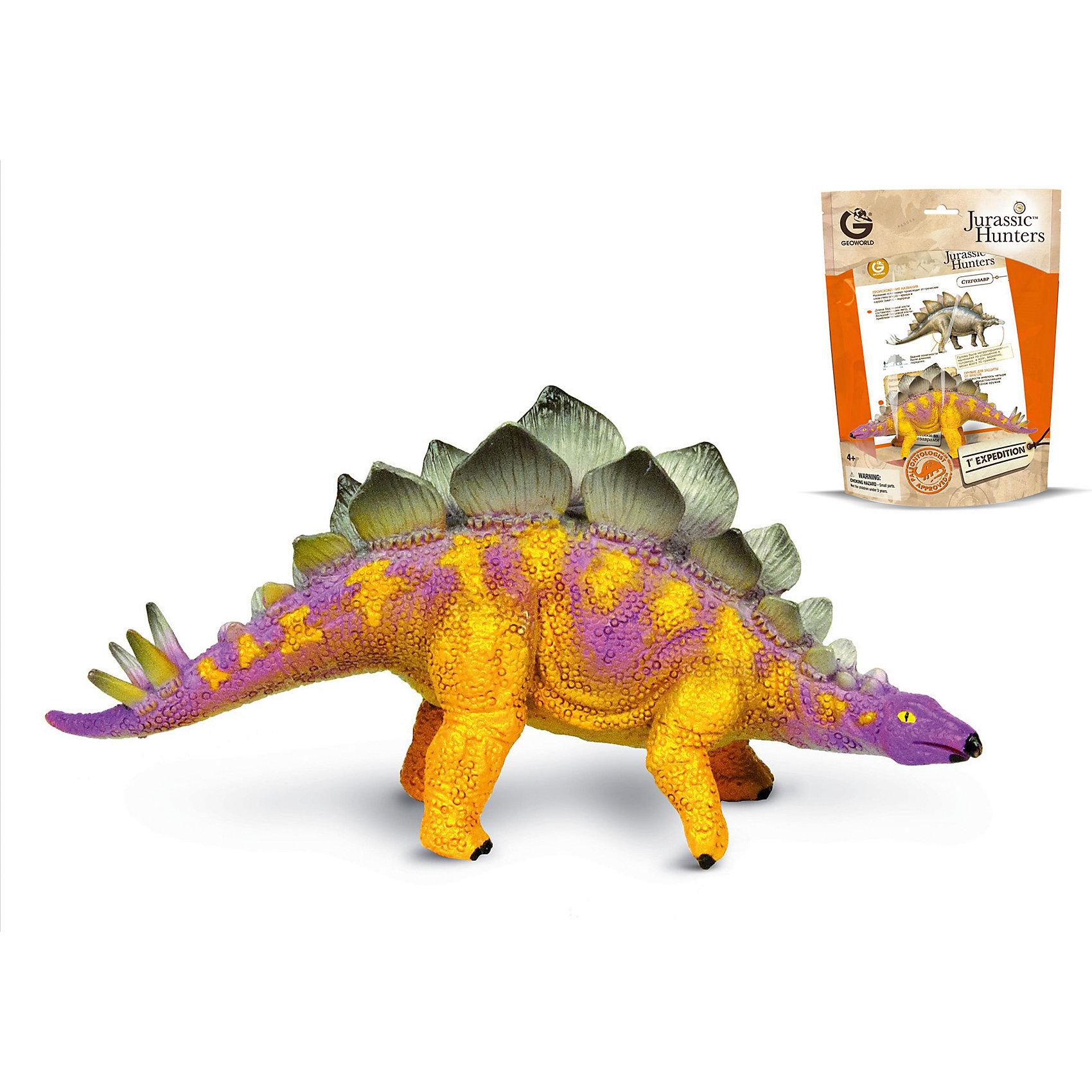 Динозавр Стегозавр, коллекция Jurassic Hunters», GeoworldСтегозавры населяли нашу планету в незапамятные времена, более 155-145 млн. лет назад. Этих динозавров легко идентифицировать по особенному спинному гребню, которой по своей форме напоминает вертикально стоящие лепестки. Еще больше интересных фактов о стегозавре ребенок сможет узнать из буклета, который идет в комплекте с фигуркой. А сама фигурка максимально точно сможет дать ответ на вопрос, как выглядели стегозавры. Компания Geoworld тщательнейшим образом следит за достоверностью выпускаемых моделей динозавров. Фигурка раскрашена вручную, могут быть незначительные отличия в вариации раскраски.<br><br>Комплект: <br><br>Фигурка динозавра; <br>Страница с научной информацией о динозавре;<br>Мини-буклет с указанием полной коллекции Jurassic Hunters (Охотников за Динозаврами).<br><br><br>Основные характеристики:<br><br>Размер упаковки: 34 х 21 х 8 см<br>Длина самой игрушки: 15 см<br><br>Ширина мм: 210<br>Глубина мм: 80<br>Высота мм: 270<br>Вес г: 114<br>Возраст от месяцев: 48<br>Возраст до месяцев: 108<br>Пол: Унисекс<br>Возраст: Детский<br>SKU: 5418989