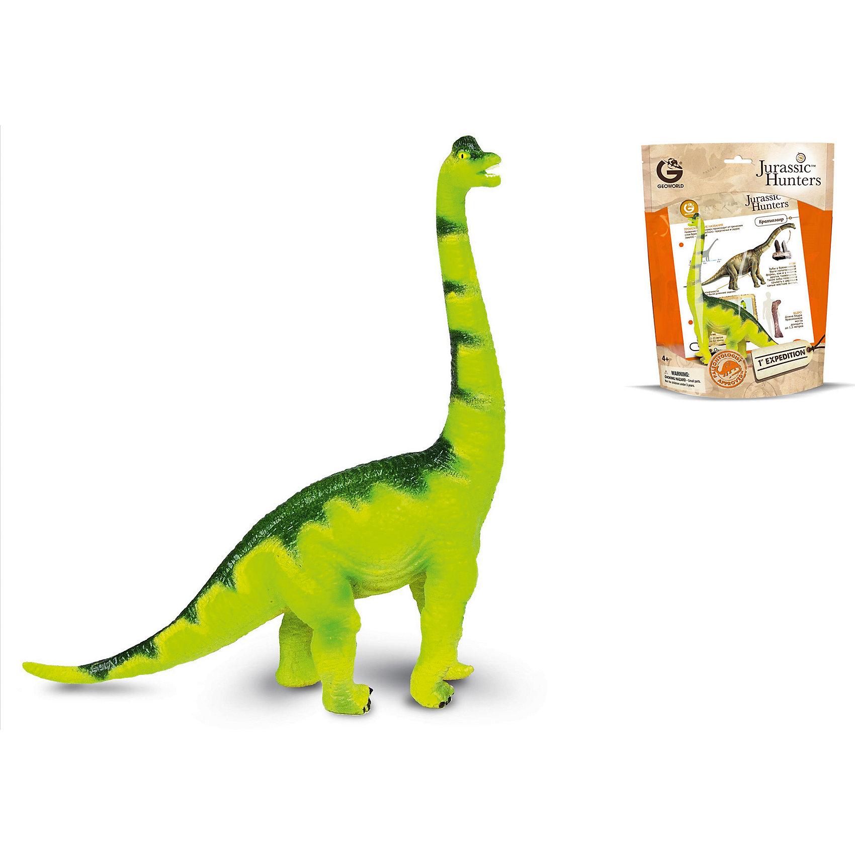 Динозавр Брахиозавр, коллекция Jurassic Hunters, GeoworldДраконы и динозавры<br>Характеристики товара:<br><br>• материал: пластик<br>• возраст: от 4 лет<br>• масштаб: 1:85<br>• в комплекте: фигурка динозавра, страница с научной информацией о динозавре, мини-буклет с указанием полной коллекции Jurassic Hunters (Охотников за Динозаврами)<br>• длина игрушки: 15 см<br>• габариты упаковки: 34х21х8 см<br>• вес: 106 г<br>• страна бренда: Италия<br><br>Детализированная фигурка отлично впишется в коллекцию динозавров юного палеонтолога. Уникальный дизайн, проработанные мелкие детали и художественное исполнение сделали игрушку очень реалистичной и перенесли ее в раздел коллекционных моделей. Материалы, использованные при изготовлении товаров, проходят проверку на качество и соответствие международным требованиям по безопасности.<br>Такие фигурки помогают привить детям любовь к учебе, развить воображение и интерес к коллекционированию.<br><br>Динозавр Брахиозавр, коллекция Jurassic Hunter, от бренда Geoworld можно купить в нашем интернет-магазине.<br><br>Ширина мм: 210<br>Глубина мм: 80<br>Высота мм: 270<br>Вес г: 106<br>Возраст от месяцев: 48<br>Возраст до месяцев: 108<br>Пол: Унисекс<br>Возраст: Детский<br>SKU: 5418990
