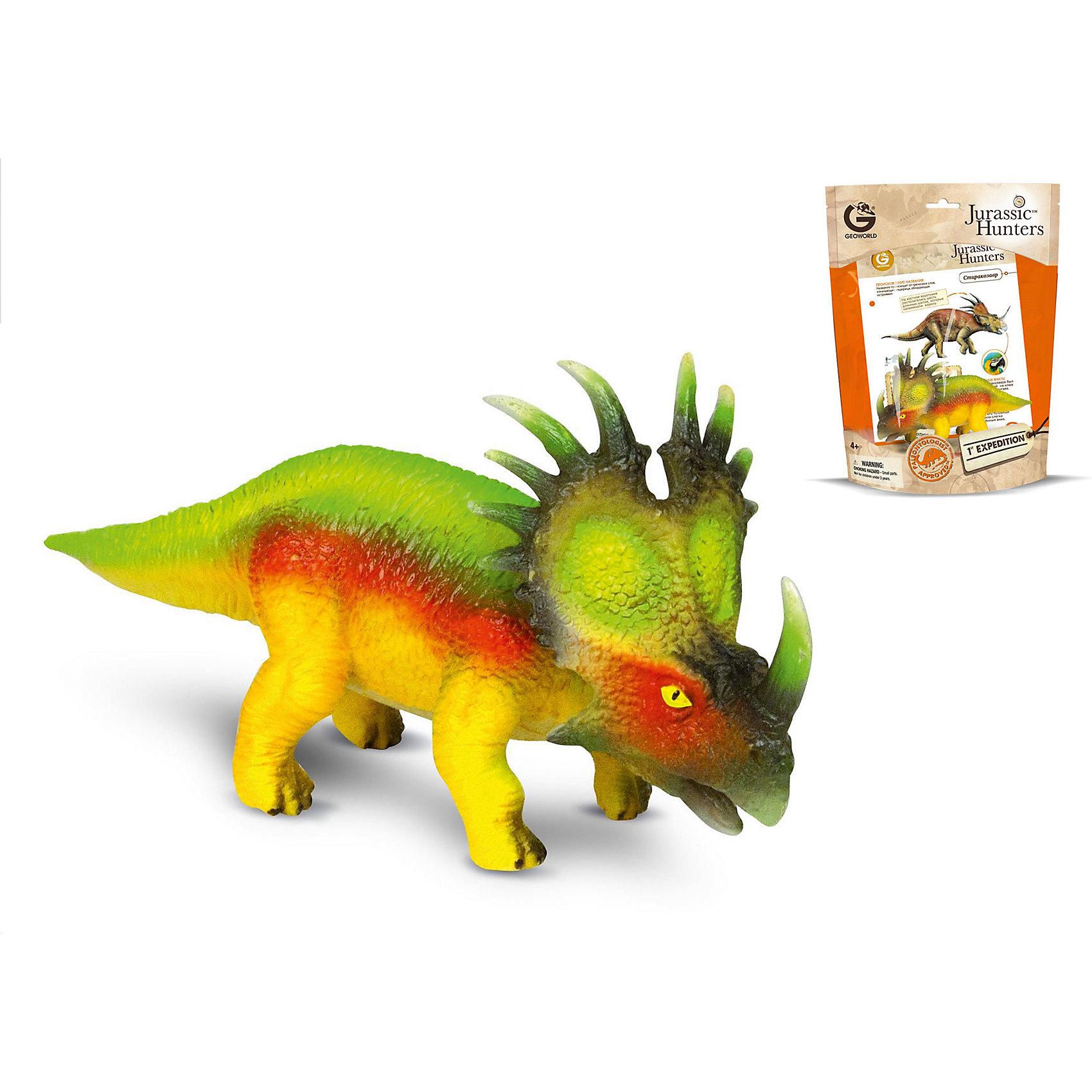 Динозавр Стиракозавр, коллекция Jurassic Hunters, GeoworldДраконы и динозавры<br>Характеристики товара:<br><br>• материал: пластик<br>• возраст: от 4 лет<br>• длина игрушки: 15 см<br>• масштаб: 1:40<br>• в комплекте: фигурка динозавра, страница с научной информацией о динозавре, мини-буклет с указанием полной коллекции Jurassic Hunters (Охотников за Динозаврами).<br>• габариты упаковки: 34х21х8 см<br>• вес: 133 г<br>• страна бренда: Италия<br><br>Детализированная фигурка отлично впишется в коллекцию динозавров юного палеонтолога. Уникальный дизайн, проработанные мелкие детали и художественное исполнение сделали игрушку очень реалистичной и перенесли ее в раздел коллекционных моделей. Материалы, использованные при изготовлении товаров, проходят проверку на качество и соответствие международным требованиям по безопасности.<br>Такие фигурки помогают привить детям любовь к учебе, развить воображение и интерес к коллекционированию.<br><br>Динозавр Стиракозавр, коллекция Jurassic Hunter, от бренда Geoworld можно купить в нашем интернет-магазине.<br><br>Ширина мм: 210<br>Глубина мм: 80<br>Высота мм: 270<br>Вес г: 133<br>Возраст от месяцев: 48<br>Возраст до месяцев: 108<br>Пол: Унисекс<br>Возраст: Детский<br>SKU: 5418991