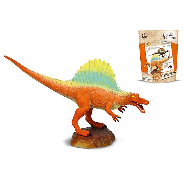 Динозавр Спинозавр, коллекция Jurassic Hunters, GeoworldМир животных<br>Характеристики товара:<br><br>• материал: пластик<br>• возраст: от 4 лет<br>• длина игрушки: 18 см<br>• масштаб: 1:80<br>• в комплекте: фигурка динозавра, страница с научной информацией о динозавре, мини-буклет с указанием полной коллекции Jurassic Hunters (Охотников за Динозаврами)<br>• габариты упаковки: 27х21х8 см<br>• вес: 91 г<br>• страна бренда: Италия<br><br>Детализированная фигурка отлично впишется в коллекцию динозавров юного палеонтолога. Уникальный дизайн, проработанные мелкие детали и художественное исполнение сделали игрушку очень реалистичной и перенесли ее в раздел коллекционных моделей. Материалы, использованные при изготовлении товаров, проходят проверку на качество и соответствие международным требованиям по безопасности.<br>Такие фигурки помогают привить детям любовь к учебе, развить воображение и интерес к коллекционированию.<br><br>Динозавр Спинозавр, коллекция Jurassic Hunter, от бренда Geoworld можно купить в нашем интернет-магазине.<br>Ширина мм: 210; Глубина мм: 80; Высота мм: 270; Вес г: 91; Возраст от месяцев: 48; Возраст до месяцев: 108; Пол: Унисекс; Возраст: Детский; SKU: 5418992;