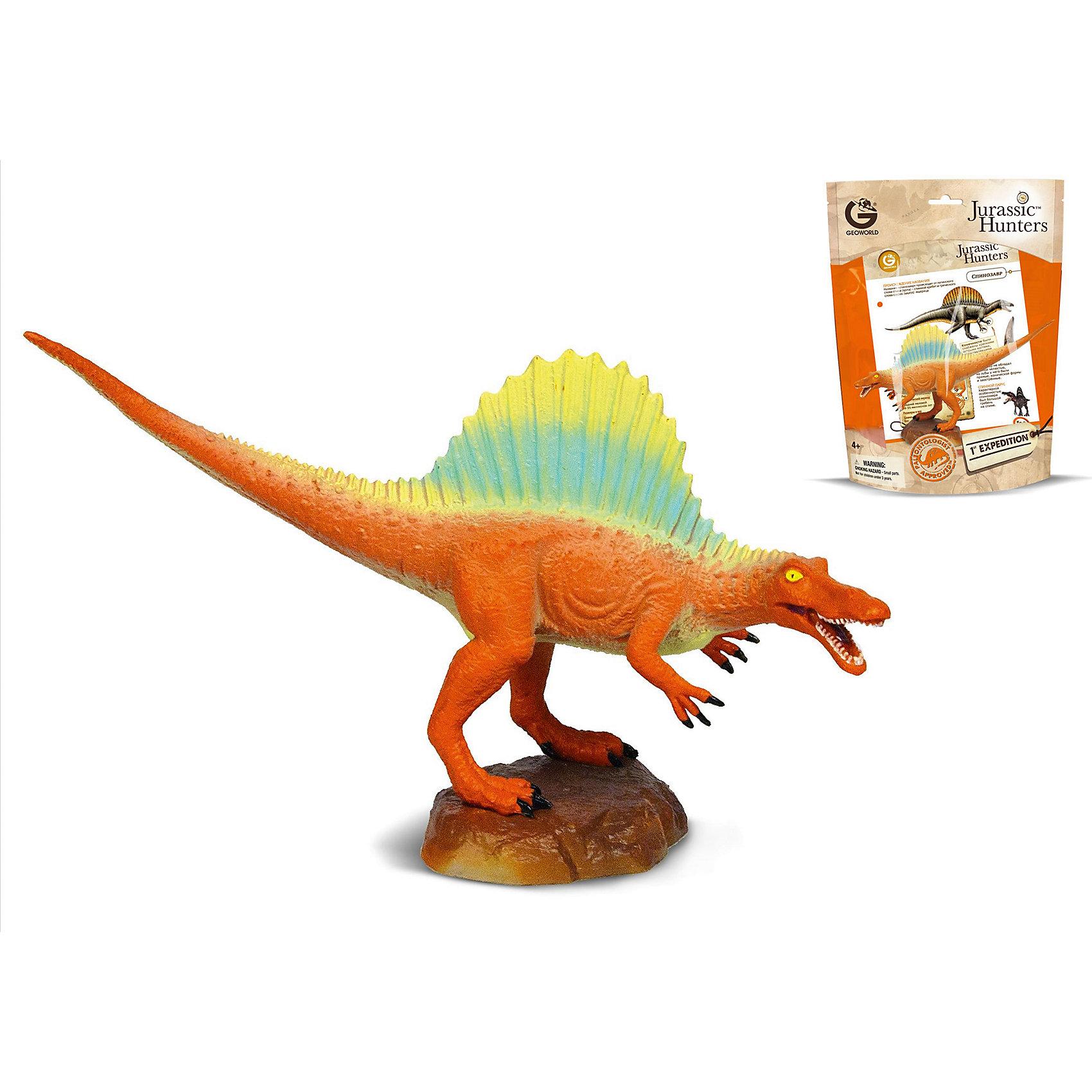 Динозавр Спинозавр, коллекция Jurassic Hunters, GeoworldДраконы и динозавры<br>Характеристики товара:<br><br>• материал: пластик<br>• возраст: от 4 лет<br>• длина игрушки: 18 см<br>• масштаб: 1:80<br>• в комплекте: фигурка динозавра, страница с научной информацией о динозавре, мини-буклет с указанием полной коллекции Jurassic Hunters (Охотников за Динозаврами)<br>• габариты упаковки: 27х21х8 см<br>• вес: 91 г<br>• страна бренда: Италия<br><br>Детализированная фигурка отлично впишется в коллекцию динозавров юного палеонтолога. Уникальный дизайн, проработанные мелкие детали и художественное исполнение сделали игрушку очень реалистичной и перенесли ее в раздел коллекционных моделей. Материалы, использованные при изготовлении товаров, проходят проверку на качество и соответствие международным требованиям по безопасности.<br>Такие фигурки помогают привить детям любовь к учебе, развить воображение и интерес к коллекционированию.<br><br>Динозавр Спинозавр, коллекция Jurassic Hunter, от бренда Geoworld можно купить в нашем интернет-магазине.<br><br>Ширина мм: 210<br>Глубина мм: 80<br>Высота мм: 270<br>Вес г: 91<br>Возраст от месяцев: 48<br>Возраст до месяцев: 108<br>Пол: Унисекс<br>Возраст: Детский<br>SKU: 5418992