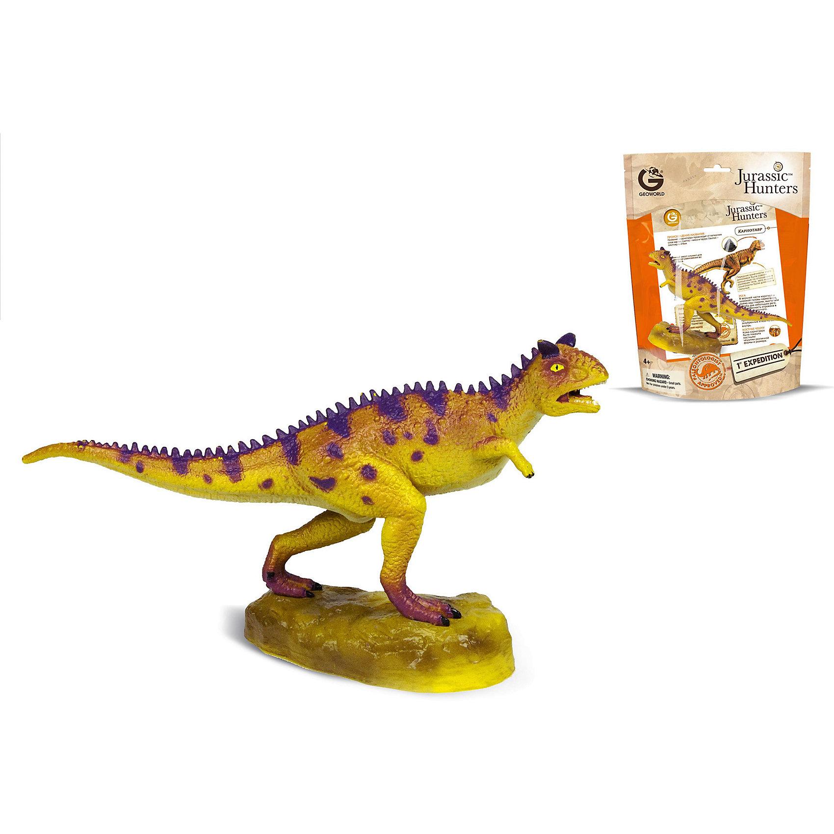 Динозавр Карнотавр, коллекция Jurassic Hunters, GeoworldДраконы и динозавры<br>Характеристики товара:<br><br>• материал: пластик<br>• возраст: от 4 лет<br>• масштаб: 1:50<br>• в комплекте: 1 фигурка динозавра, страница с научной информацией о динозавре, мини-буклет с указанием полной коллекции Jurassic Hunters (Охотников за Динозаврами)<br>• длина игрушки: 18 см<br>• габариты упаковки: 27х21х8 см<br>• вес: 100 г<br>• страна бренда: Италия<br><br>Детализированная фигурка отлично впишется в коллекцию динозавров юного палеонтолога. Уникальный дизайн, проработанные мелкие детали и художественное исполнение сделали игрушку очень реалистичной и перенесли ее в раздел коллекционных моделей. Материалы, использованные при изготовлении товаров, проходят проверку на качество и соответствие международным требованиям по безопасности.<br>Такие фигурки помогают привить детям любовь к учебе, развить воображение и интерес к коллекционированию.<br><br>Динозавр Карнотавр, коллекция Jurassic Hunter, от бренда Geoworld можно купить в нашем интернет-магазине.<br><br>Ширина мм: 210<br>Глубина мм: 80<br>Высота мм: 270<br>Вес г: 106<br>Возраст от месяцев: 48<br>Возраст до месяцев: 108<br>Пол: Унисекс<br>Возраст: Детский<br>SKU: 5418993