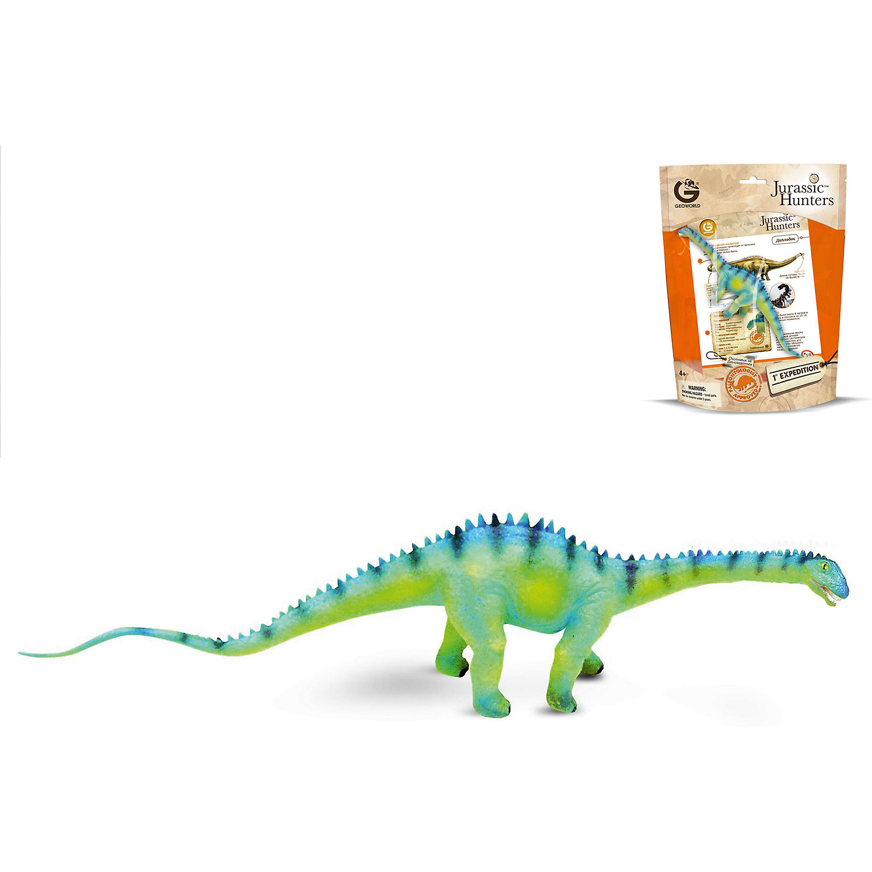 Динозавр Диплодок, коллекция Jurassic Hunters, GeoworldДраконы и динозавры<br>Характеристики товара:<br><br>• материал: пластик<br>• возраст: от 4 лет<br>• длина игрушки: 27 см<br>• масштаб: 1:110<br>• в комплекте: фигурка динозавра, страница с научной информацией о динозавре, мини-буклет с указанием полной коллекции Jurassic Hunters (Охотников за Динозаврами)<br>• габариты упаковки: 27х21х8 см<br>• вес: 100 г<br>• страна бренда: Италия<br><br>Детализированная фигурка отлично впишется в коллекцию динозавров юного палеонтолога. Уникальный дизайн, проработанные мелкие детали и художественное исполнение сделали игрушку очень реалистичной и перенесли ее в раздел коллекционных моделей. Материалы, использованные при изготовлении товаров, проходят проверку на качество и соответствие международным требованиям по безопасности.<br>Такие фигурки помогают привить детям любовь к учебе, развить воображение и интерес к коллекционированию.<br><br>Динозавр Диплодок, коллекция Jurassic Hunter, от бренда Geoworld можно купить в нашем интернет-магазине.<br><br>Ширина мм: 210<br>Глубина мм: 80<br>Высота мм: 270<br>Вес г: 111<br>Возраст от месяцев: 48<br>Возраст до месяцев: 108<br>Пол: Унисекс<br>Возраст: Детский<br>SKU: 5418994