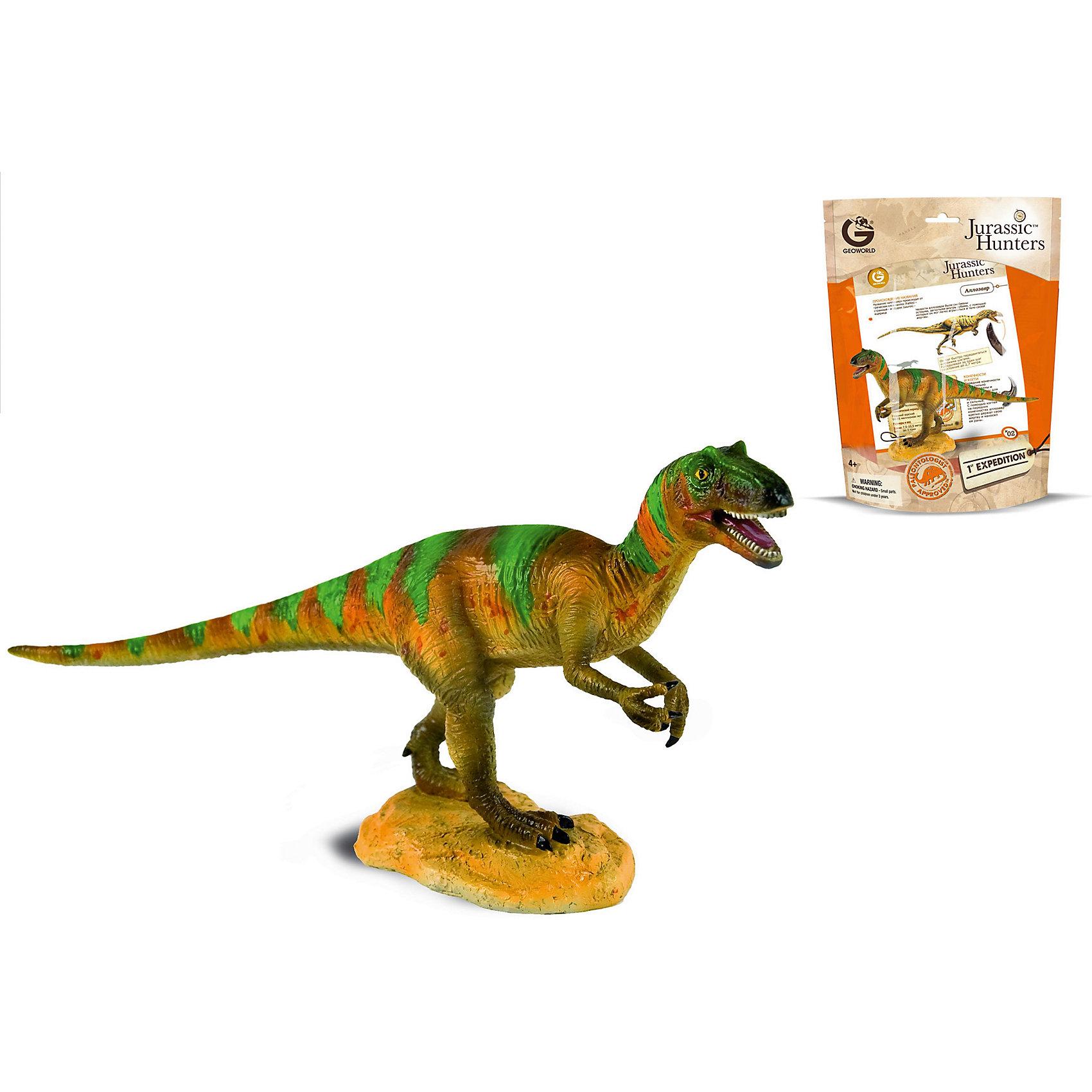 Динозавр Аллозавр, коллекция Jurassic Hunters, GeoworldДраконы и динозавры<br>Аллозавр — это древний хищный ящер, который обитал во времена Юрского периода. У него мощные задние конечности, короткие передние лапы. Больше информации об этом интересном виде дети узнают из описания, которое прилагается к этой качественной масштабной фигурке. Игрушка создана с высокой степенью достоверности и аккуратно раскрашена вручную. Компания Geoworld ставит своей целью создавать наиболее достоверные фигурки динозавров на основе прогрессивных теорий палеонтологии.<br><br>Комплект: <br><br>Фигурка динозавра; <br>Страница с научной информацией о динозавре;<br>Мини-буклет с указанием полной коллекции Jurassic Hunters (Охотников за Динозаврами).<br><br><br>Основные характеристики:<br><br>Размер упаковки: 34 х 21 х 8 см<br>Длина самой игрушки: 20 см<br><br>Ширина мм: 210<br>Глубина мм: 80<br>Высота мм: 270<br>Вес г: 112<br>Возраст от месяцев: 48<br>Возраст до месяцев: 108<br>Пол: Унисекс<br>Возраст: Детский<br>SKU: 5418995