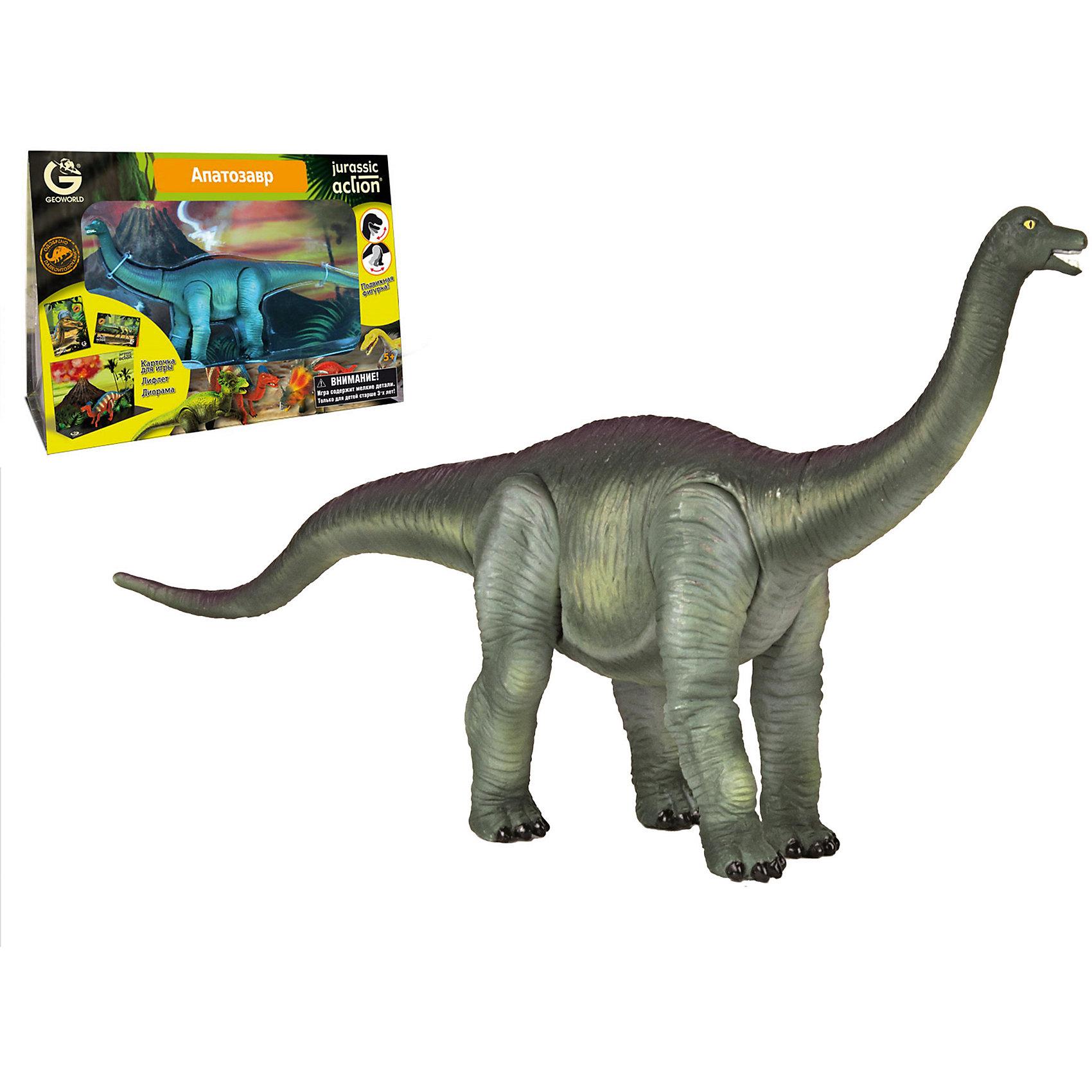 Динозавр Апатозавр, коллекция Jurassic Action, GeoworldДраконы и динозавры<br>Фигурка апатозавра из серии Jurassic Action имеет подвижные ноги, а в комплект к ней входит карточка, описывающая уникальные особенности этого динозавра. Всего серия состоит из 24 разных динозавров — соберите их всех и узнайте подробности про каждого!<br>В наборе найдется и диорама, показывающая доисторический ландшафт, по которому мог бы гулять апатозавр, а также буклет с интересными фактами про него.<br>Наборы Geoworld разрабатываются под тщательным руководством ученых-палеонтологов, поэтому, покупая игрушку этого бренда, вы можете быть уверены, что приобретаете качественную вещь с самой точной сопровождающей ее научной информацией.Комплект: подвижная фигурка динозавра, лифлет с научной информацией, диорама, карточка.<br>Из чего сделана игрушка (состав): ПВХ-пластизоль, картон.<br>Размер упаковки: 33 x 23 x 11 см.<br><br>Ширина мм: 230<br>Глубина мм: 110<br>Высота мм: 330<br>Вес г: 400<br>Возраст от месяцев: 60<br>Возраст до месяцев: 108<br>Пол: Унисекс<br>Возраст: Детский<br>SKU: 5418997