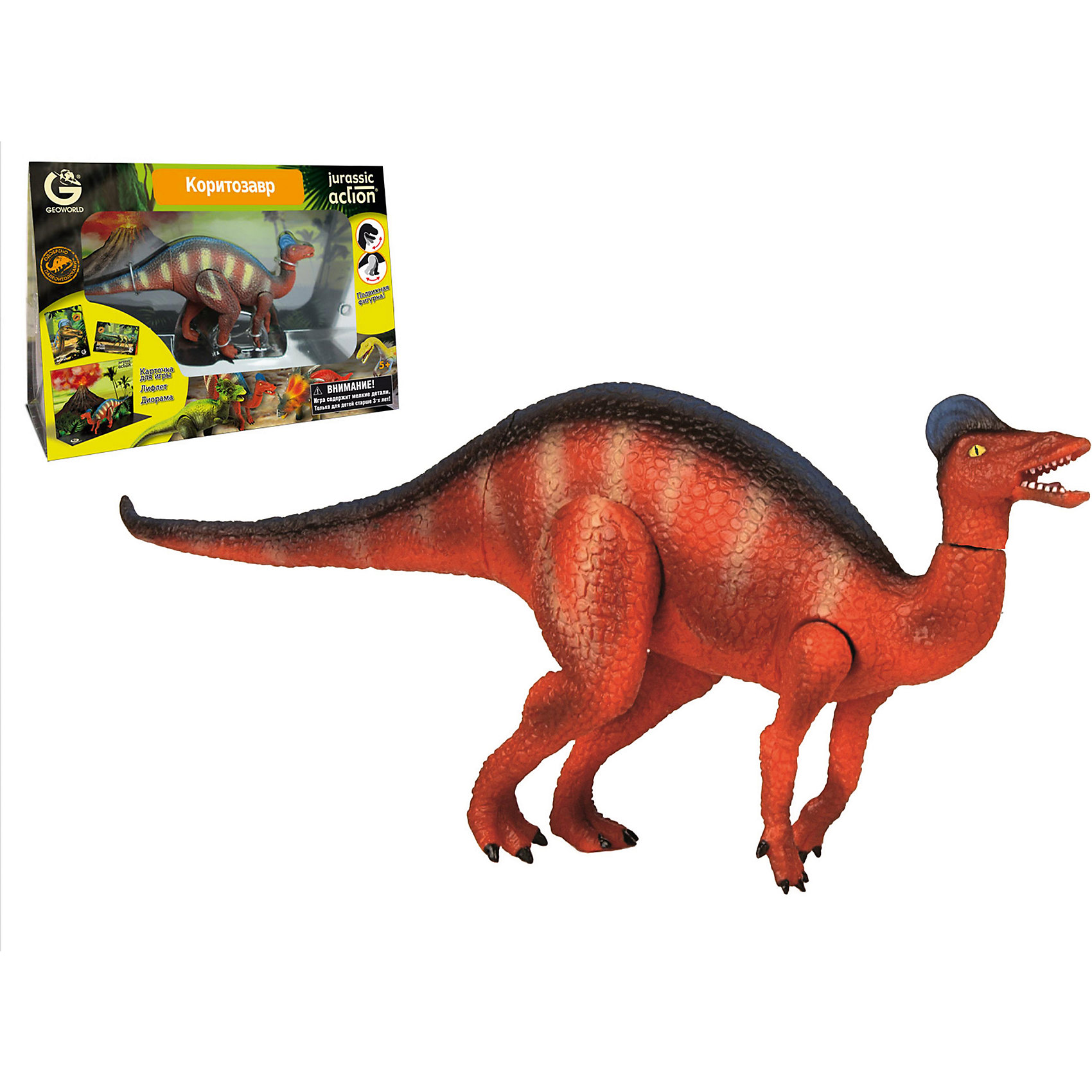 Динозавр Коритозавр, коллекция Jurassic Action, GeoworldДраконы и динозавры<br>Характеристики товара:<br><br>• материал: пластик, картон<br>• фигурка подвижная<br>• возраст: от 4 лет<br>• габариты упаковки: 23х11х33 см<br>• комплектация: фигурка динозавра, карточка, диорама<br>• вес: 300 г<br>• страна бренда: Италия<br><br>Детализированная фигурка отлично впишется в коллекцию динозавров юного палеонтолога. Уникальный дизайн, проработанные мелкие детали и художественное исполнение сделали игрушку очень реалистичной и перенесли ее в раздел коллекционных моделей. Материалы, использованные при изготовлении товаров, проходят проверку на качество и соответствие международным требованиям по безопасности.<br><br>У фигурки подвижны конечности и голова, поэтому ей можно придавать разные позы. Также в наборе идет карточка, описывающая этого динозавра, и буклет. Плюс - диорама со средой обитания динозавра. Такие фигурки помогают привить детям любовь к учебе, развить воображение и интерес к коллекционированию.<br><br>Динозавр Коритозавр, коллекция Jurassic Action, от бренда Geoworld можно купить в нашем интернет-магазине.<br><br>Ширина мм: 230<br>Глубина мм: 110<br>Высота мм: 330<br>Вес г: 316<br>Возраст от месяцев: 60<br>Возраст до месяцев: 108<br>Пол: Унисекс<br>Возраст: Детский<br>SKU: 5418998