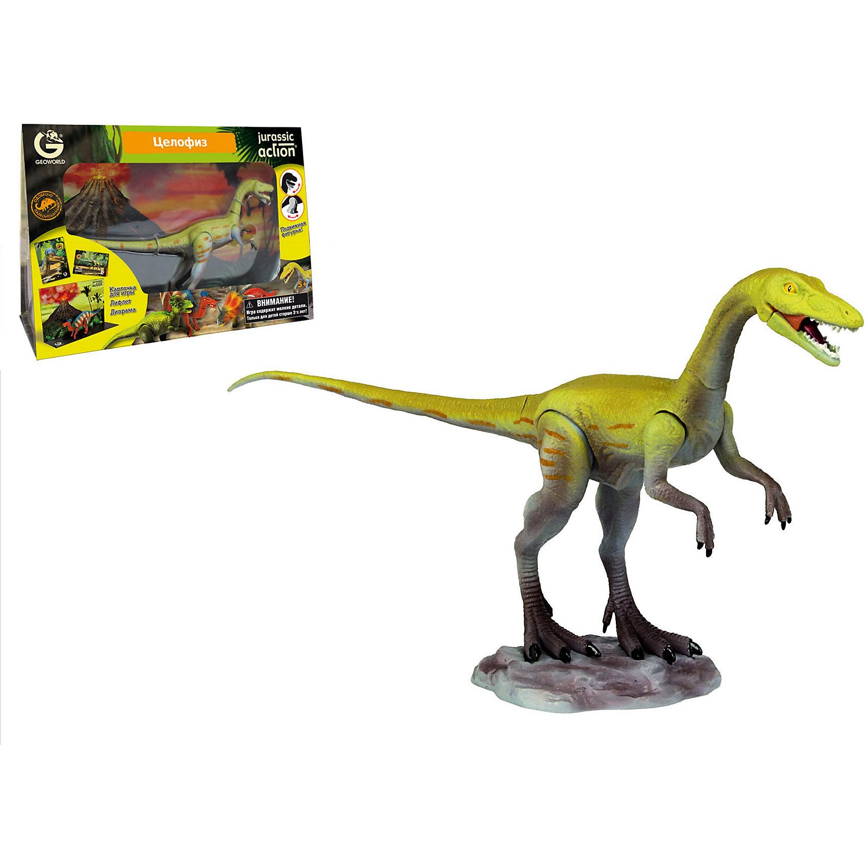 Динозавр Целофиз, коллекция Jurassic Action, GeoworldКомплект: подвижная фигурка динозавра, лифлет с научной информацией, диорама, карточка.<br>Из чего сделана игрушка (состав): ПВХ-пластизоль, картон.<br>Размер коробки (длн-шрн-вст): 33 x 23 x 11 см.<br>Страна обладатель бренда: Италия.<br><br>Фигурка динозавра целофиза выглядит очень правдоподобно и реалистично, а благодаря подвижным конечностям и голове, ей можно придавать различные позы. Карточка динозавра, входящая в комплект, расскажет об особенностях этого древнего ящера, а буклет с интересными фактами добавит захватывающей информации для чтения. Фигурка входит в серию Jurassic Action, состоящую из 24 наборов с разными динозаврами. Соберите их всех!<br>В наборе найдется и диорама, складывающаяся из коробки и показывающая доисторический ландшафт, по которому мог бы гулять целофиз.<br>Наборы Geoworld разрабатываются под тщательным руководством ученых-палеонтологов, поэтому, покупая игрушку этого бренда, вы можете быть уверены, что приобретаете качественную вещь с самой точной сопровождающей ее научной информацией.<br><br>Ширина мм: 230<br>Глубина мм: 110<br>Высота мм: 330<br>Вес г: 378<br>Возраст от месяцев: 60<br>Возраст до месяцев: 108<br>Пол: Унисекс<br>Возраст: Детский<br>SKU: 5419001