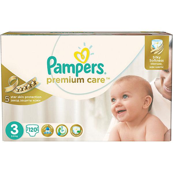 Подгузники Pampers Premium Care,  5-9 кг, 3 размер, 120 шт., PampersПодгузники классические<br>Характеристики:<br><br>• Пол: универсальный<br>• Тип подгузника: одноразовый<br>• Коллекция: Premium Care<br>• Предназначение: для использования в любое время суток <br>• Размер: 3<br>• Вес ребенка: от 5 до 9 кг<br>• Количество в упаковке: 120 шт.<br>• Упаковка: картонная коробка<br>• Размер упаковки: 42,6*24,3*25,7 см<br>• Вес в упаковке: 3 кг 508 г<br>• Эластичные застежки-липучки<br>• Подходят для чувствительной кожи<br>• Индикатор влаги<br>• Дышащие материалы<br>• Повышенные впитывающие свойства<br><br>Подгузники Pampers Premium Care, 5-9 кг, 3 размер, 120 шт., Pampers – это новейшая линейка детских подгузников от Pampers, которая сочетает в себе высокое качество и безопасность материалов, удобство использования и комфорт для нежной кожи малыша. Подгузники предназначены для младенцев весом до 9 кг. Инновационные технологии и современные материалы обеспечивают этим подгузникам дышащие свойства, что особенно важно для кожи малыша. <br><br>Три впитывающих слоя обеспечивают повышенные впитывающие качества, при этом верхний слой остается сухим и мягким. У подгузников предусмотрена эластичная мягкая резиночка на спинке. Широкие липучки с двух сторон обеспечивают надежную фиксацию. У подгузника предусмотрен индикатор сухости-влажности, полоска, которая по мере наполнения меняет цвет. Подгузник подходит как для мальчиков, так и для девочек. <br><br>Подгузники Pampers Premium Care, 5-9 кг, 3 размер, 120 шт., Pampers можно купить в нашем интернет-магазине.<br><br>Ширина мм: 426<br>Глубина мм: 243<br>Высота мм: 257<br>Вес г: 3508<br>Возраст от месяцев: 0<br>Возраст до месяцев: 9<br>Пол: Унисекс<br>Возраст: Детский<br>SKU: 5419029