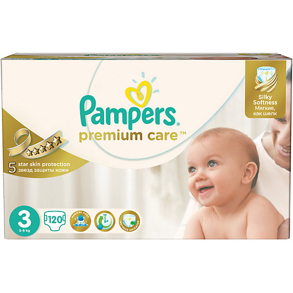 Подгузники Pampers Premium Care,  5-9 кг, 3 размер, 120 шт., Pampers