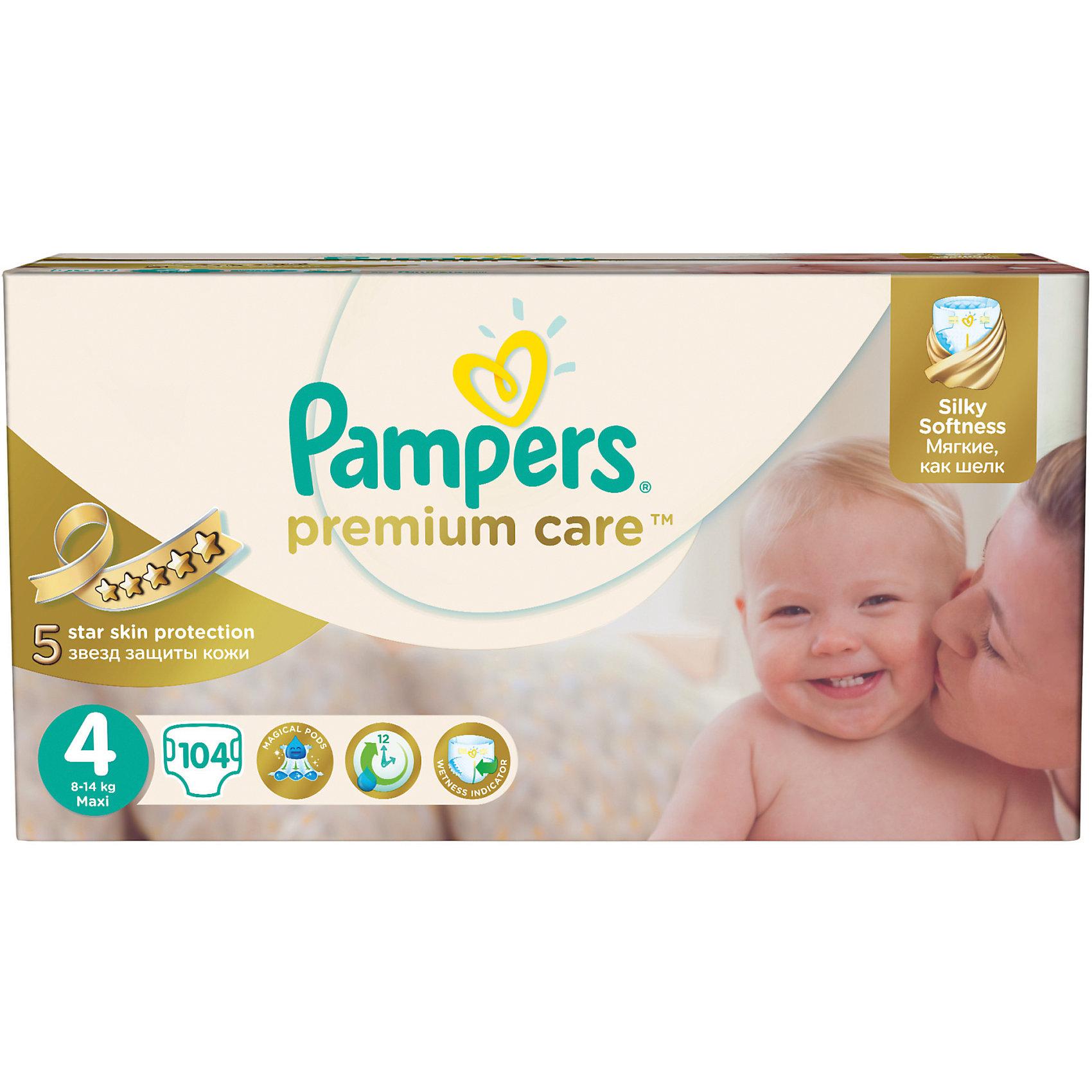 Подгузники Pampers Premium Care, 8-14 кг, 4 размер, 104 шт., PampersПодгузники более 12 кг.<br>Характеристики:<br><br>• Пол: универсальный<br>• Тип подгузника: одноразовый<br>• Коллекция: Premium Care<br>• Предназначение: для использования в любое время суток <br>• Размер: 4<br>• Вес ребенка: от 8 до 14 кг<br>• Количество в упаковке: 104 шт.<br>• Упаковка: картонная коробка<br>• Размер упаковки: 43,8*24,3*21,5 см<br>• Вес в упаковке: 3 кг 401 г<br>• Эластичные застежки-липучки<br>• Подходят для чувствительной кожи<br>• Индикатор влаги<br>• Дышащие материалы<br>• Повышенные впитывающие свойства<br><br>Подгузники Pampers Premium Care, 8-14 кг, 4 размер, 104 шт., Pampers – это новейшая линейка детских подгузников от Pampers, которая сочетает в себе высокое качество и безопасность материалов, удобство использования и комфорт для нежной кожи малыша. Подгузники предназначены для младенцев весом до 14 кг. Инновационные технологии и современные материалы обеспечивают этим подгузникам дышащие свойства, что особенно важно для кожи малыша. <br><br>Три впитывающих слоя обеспечивают повышенные впитывающие качества, при этом верхний слой остается сухим и мягким. У подгузников предусмотрена эластичная мягкая резиночка на спинке. Широкие липучки с двух сторон обеспечивают надежную фиксацию. У подгузника предусмотрен индикатор сухости-влажности, полоска, которая по мере наполнения меняет цвет. Подгузник подходит как для мальчиков, так и для девочек. <br><br>Подгузники Pampers Premium Care, 8-14 кг, 4 размер, 104 шт., Pampers можно купить в нашем интернет-магазине.<br><br>Ширина мм: 438<br>Глубина мм: 243<br>Высота мм: 215<br>Вес г: 3401<br>Возраст от месяцев: 6<br>Возраст до месяцев: 36<br>Пол: Унисекс<br>Возраст: Детский<br>SKU: 5419030