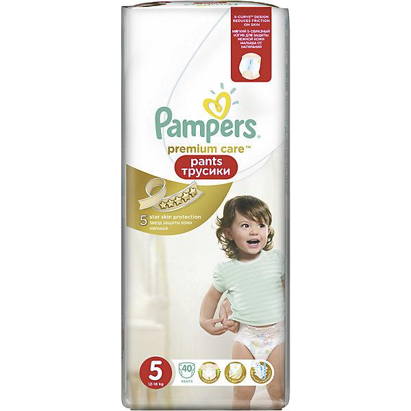 Трусики Pampers Premium Care Pants,12-18кг, размер 5, 40 шт., PampersТрусики-подгузники<br>Характеристики:<br><br>• Вид подгузника: трусики<br>• Пол: универсальный<br>• Тип подгузника: одноразовый<br>• Коллекция: Premium Care<br>• Предназначение: для использования в любое время суток <br>• Размер: 5<br>• Вес ребенка: от 12 до 18 кг<br>• Количество в упаковке: 40 шт.<br>• Упаковка: пакет<br>• Размер упаковки: 19,4*14*46 см<br>• Вес в упаковке: 1 кг 104 г<br>• Наружные боковые швы<br>• Подходят для чувствительной кожи<br>• Индикатор влаги<br>• Дышащие материалы<br>• Повышенные впитывающие свойства<br><br>Трусики Pampers Premium Care Pants, 12-18 кг, размер 5, 40 шт., Pampers – это новейшая линейка детских подгузников от Pampers, которая сочетает в себе высокое качество и безопасность материалов, удобство использования и комфорт для нежной кожи малыша. Подгузники выполнены в виде трусиков и предназначены для детей весом до 18 кг. Инновационные технологии и современные материалы обеспечивают этим подгузникам Дышащие свойства, что особенно важно для кожи малыша. <br><br>Три впитывающих слоя обеспечивают повышенные впитывающие качества, при этом верхний слой остается сухим и мягким. У трусиков предусмотрена эластичная мягкая резиночка на спинке и манжеты на ножках, что защищает от протекания. У изделия имеется индикатор сухости-влажности: полоска, которая по мере наполнения меняет цвет. Боковые наружные швы не натирают нежную кожу малыша, легко разрываются при смене трусиков. Сзади имеется клейкая лента, которая позволяет зафиксировать свернутые после использования трусики. Трусики подходит как для мальчиков, так и для девочек. <br><br>Трусики Pampers Premium Care Pants, 12-18 кг, размер 5, 40 шт., Pampers можно купить в нашем интернет-магазине.<br><br>Ширина мм: 194<br>Глубина мм: 140<br>Высота мм: 460<br>Вес г: 14<br>Возраст от месяцев: 12<br>Возраст до месяцев: 36<br>Пол: Унисекс<br>Возраст: Детский<br>SKU: 5419038