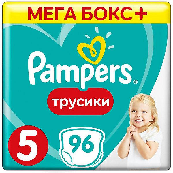Трусики Pampers Pants, 12-18кг, размер 5, 96 шт., PampersТрусики-подгузники<br>Характеристики:<br><br>• Вид подгузника: трусики<br>• Пол: универсальный<br>• Тип подгузника: одноразовый<br>• Коллекция: Active Baby<br>• Предназначение: для ночного сна <br>• Размер: 5<br>• Вес ребенка: от 12 до 18 кг<br>• Количество в упаковке: 96 шт.<br>• Упаковка: картонная коробка<br>• Размер упаковки: 43,1*24,5*30,7 см<br>• Вес в упаковке: 3 кг 083 г<br>• Наружные боковые швы<br>• До 12 часов сухости<br>• Эластичные резинки <br>• Дышащие материалы<br>• Повышенные впитывающие свойства<br><br>Трусики Pampers Pants, 12-18 кг, размер 5, 96 шт., Pampers – это новейшая линейка детских подгузников от Pampers, которая сочетает в себе высокое качество и безопасность материалов, удобство использования и комфорт для нежной кожи малыша. Подгузники выполнены в виде трусиков и предназначены для детей весом до 18 кг. Инновационные технологии и современные материалы обеспечивают этим подгузникам Дышащие свойства, что особенно важно для кожи малыша. Повышенные впитывающие качества изделию обеспечивают специальные микрогранулы, сохраняя верхний слой сухим до 12 часов, именно поэтому эту линейку трусиков производитель рекомендует использовать для ночного сна. <br><br>У трусиков предусмотрена эластичная мягкая резиночка на спинке и манжеты на ножках, что защищает от протекания. Боковые наружные швы не натирают нежную кожу малыша, легко разрываются при смене трусиков. Сзади имеется клейкая лента, которая позволяет зафиксировать свернутые после использования трусики. Трусики подходит как для мальчиков, так и для девочек. <br><br>Трусики Pampers Pants, 12-18 кг, размер 5, 96 шт., Pampers можно купить в нашем интернет-магазине.<br>Ширина мм: 431; Глубина мм: 245; Высота мм: 307; Вес г: 3083; Возраст от месяцев: 12; Возраст до месяцев: 36; Пол: Унисекс; Возраст: Детский; SKU: 5419052;