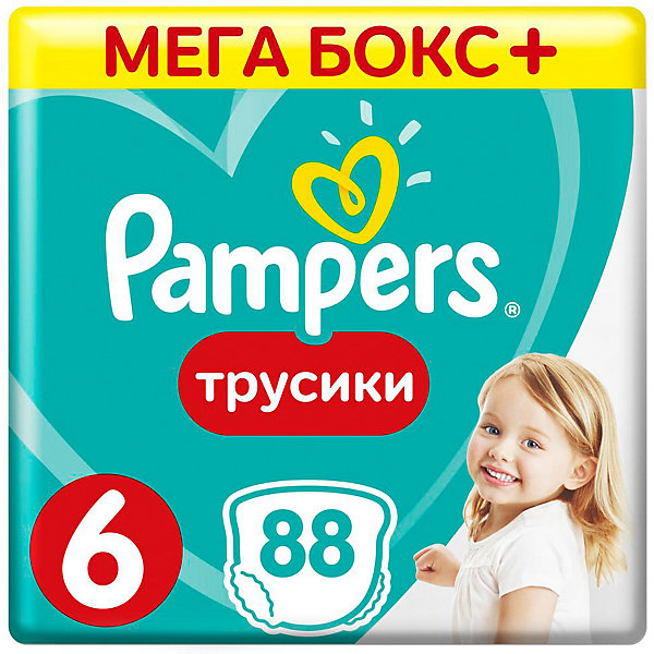 Трусики Pampers Pants, 16кг+, размер 6, 88 шт., PampersТрусики-подгузники<br>Характеристики:<br><br>• Вид подгузника: трусики<br>• Пол: универсальный<br>• Тип подгузника: одноразовый<br>• Коллекция: Active Baby<br>• Предназначение: для ночного сна <br>• Размер: 6<br>• Вес ребенка: 16+ кг<br>• Количество в упаковке: 88 шт.<br>• Упаковка: картонная коробка<br>• Размер упаковки: 49,7*23,1*26,7 см<br>• Вес в упаковке: 4 кг 598 г<br>• Наружные боковые швы<br>• До 12 часов сухости<br>• Эластичные резинки <br>• Дышащие материалы<br>• Повышенные впитывающие свойства<br><br>Трусики Pampers Pants, 16+ кг, размер 6, 88 шт., Pampers – это новейшая линейка детских подгузников от Pampers, которая сочетает в себе высокое качество и безопасность материалов, удобство использования и комфорт для нежной кожи малыша. Подгузники выполнены в виде трусиков и предназначены для детей весом до 11 кг. Инновационные технологии и современные материалы обеспечивают этим подгузникам Дышащие свойства, что особенно важно для кожи малыша. Повышенные впитывающие качества изделию обеспечивают специальные микрогранулы, сохраняя верхний слой сухим до 12 часов, именно поэтому эту линейку трусиков производитель рекомендует использовать для ночного сна. <br><br>У трусиков предусмотрена эластичная мягкая резиночка на спинке и манжеты на ножках, что защищает от протекания. Боковые наружные швы не натирают нежную кожу малыша, легко разрываются при смене трусиков. Сзади имеется клейкая лента, которая позволяет зафиксировать свернутые после использования трусики. Трусики подходит как для мальчиков, так и для девочек. <br><br>Трусики Pampers Pants, 16+ кг, размер 6, 88 шт., Pampers можно купить в нашем интернет-магазине.<br>Ширина мм: 497; Глубина мм: 231; Высота мм: 267; Вес г: 4598; Возраст от месяцев: 12; Возраст до месяцев: 36; Пол: Унисекс; Возраст: Детский; SKU: 5419053;