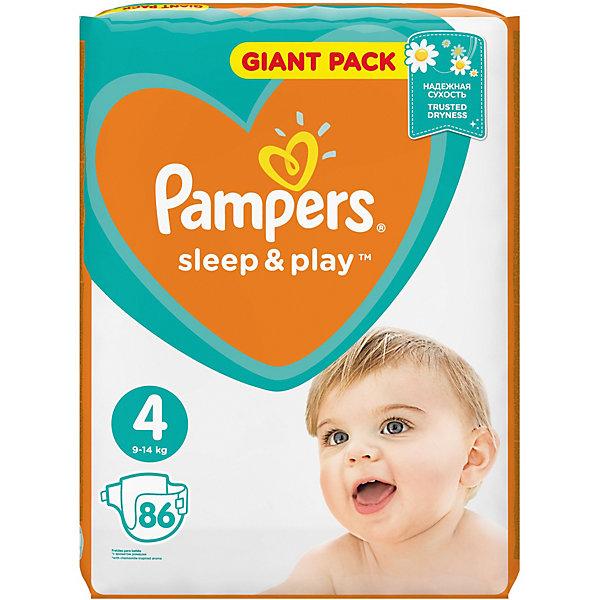 Подгузники Pampers Sleep &amp; Play, 8-14 кг, 4 размер, 86 шт., PampersПодгузники классические<br>Характеристики:<br><br>• Пол: универсальный<br>• Тип подгузника: одноразовый<br>• Коллекция: Sleep &amp; Play<br>• Предназначение: для использования в любое время суток <br>• Размер: 4<br>• Вес ребенка: от 8 до 14 кг<br>• Количество в упаковке: 86 шт.<br>• Упаковка: пакет<br>• Размер упаковки: 33,9*11,8*42,7 см<br>• Вес в упаковке: 2 кг 412 г<br>• Эластичные застежки-липучки<br>• Быстро впитывающий слой<br>• Яркий дизайн<br>• Сохранение сухости в течение 9-ти часов<br>• Содержит экстракт ромашки<br><br>Подгузники Pampers Sleep &amp; Play, 8-14 кг, 4 размер, 86 шт., Pampers – это линейка классических детских подгузников от Pampers, которая сочетает в себе качество и безопасность материалов, удобство использования и комфорт для нежной кожи малыша. Подгузники предназначены для младенцев весом до 14 кг. Инновационные технологии и современные материалы обеспечивают этим подгузникам Дышащие свойства, что особенно важно для кожи малыша. <br><br>Впитывающие свойства изделию обеспечивает уникальный слой, который равномерно распределяет влагу внутри подгузника, при этом сохраняя сухость верхнего слоя. У подгузников предусмотрена эластичная мягкая резиночка на спинке. Широкие липучки с двух сторон обеспечивают надежную фиксацию. В составе подгузника имеется экстракт ромашки, который защищает кожу ребенка от раздражений. Подгузник подходит как для мальчиков, так и для девочек. <br><br>Подгузники Pampers Sleep &amp; Play, 8-14 кг, 4 размер, 86 шт., Pampers можно купить в нашем интернет-магазине.<br>Ширина мм: 339; Глубина мм: 118; Высота мм: 427; Вес г: 2412; Возраст от месяцев: 6; Возраст до месяцев: 24; Пол: Унисекс; Возраст: Детский; SKU: 5419063;