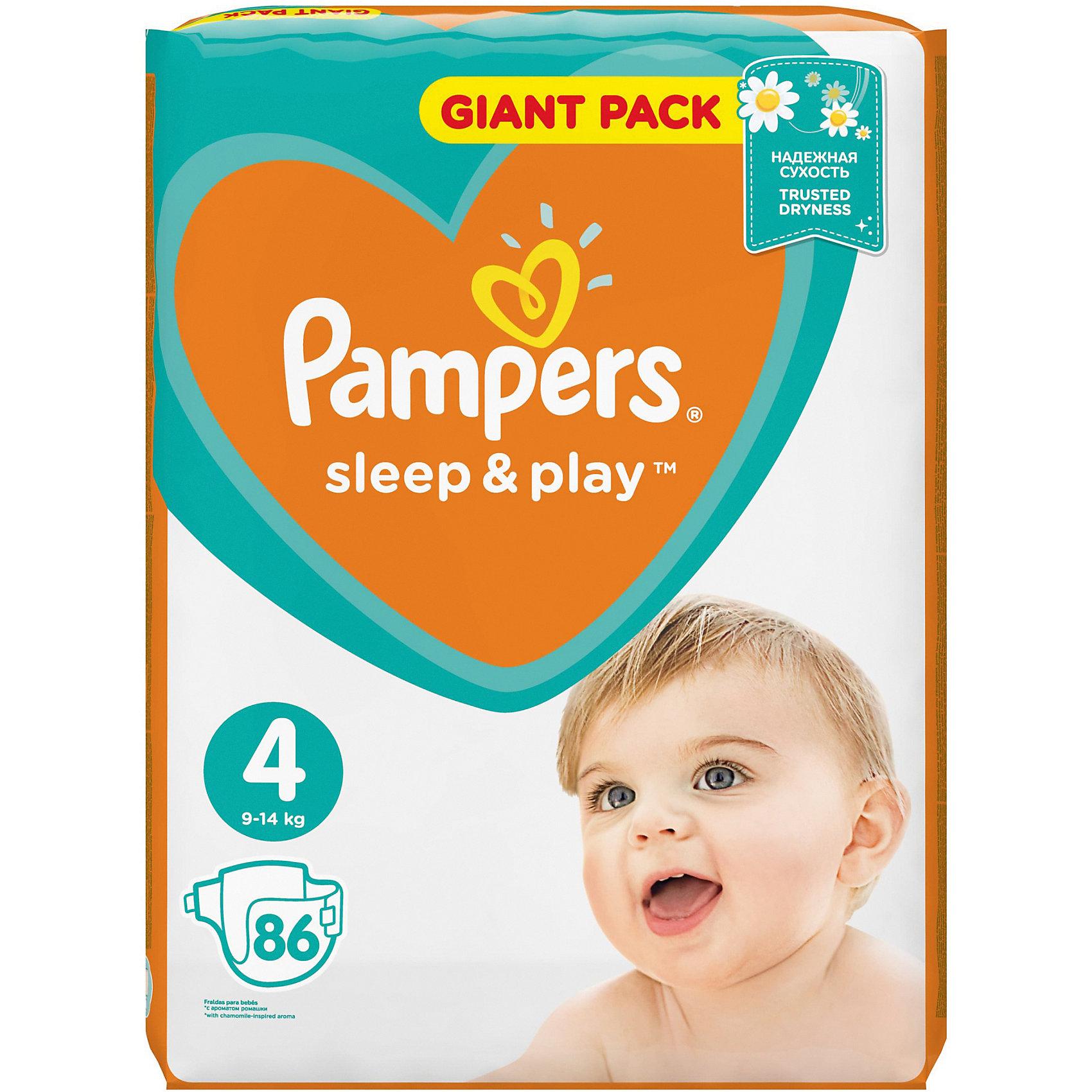 Подгузники Pampers Sleep & Play, 8-14 кг, 4 размер, 86 шт., Pampers