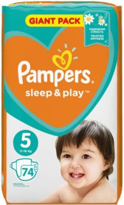 Подгузники Pampers Sleep & Play, 11-18 кг, 5 размер, 74 шт., Pampers